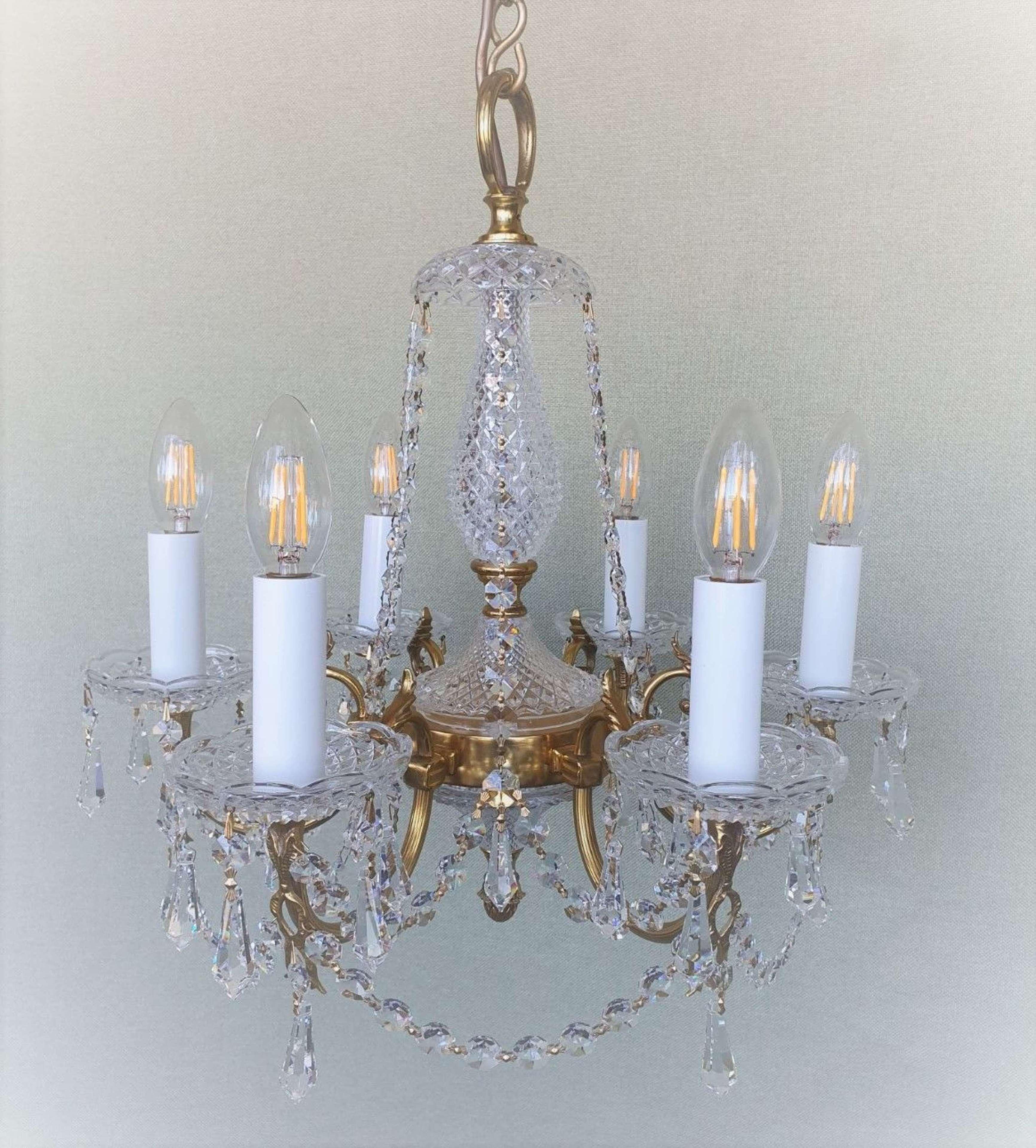 6 Light Gilt Brasss & Glass English Chandelier