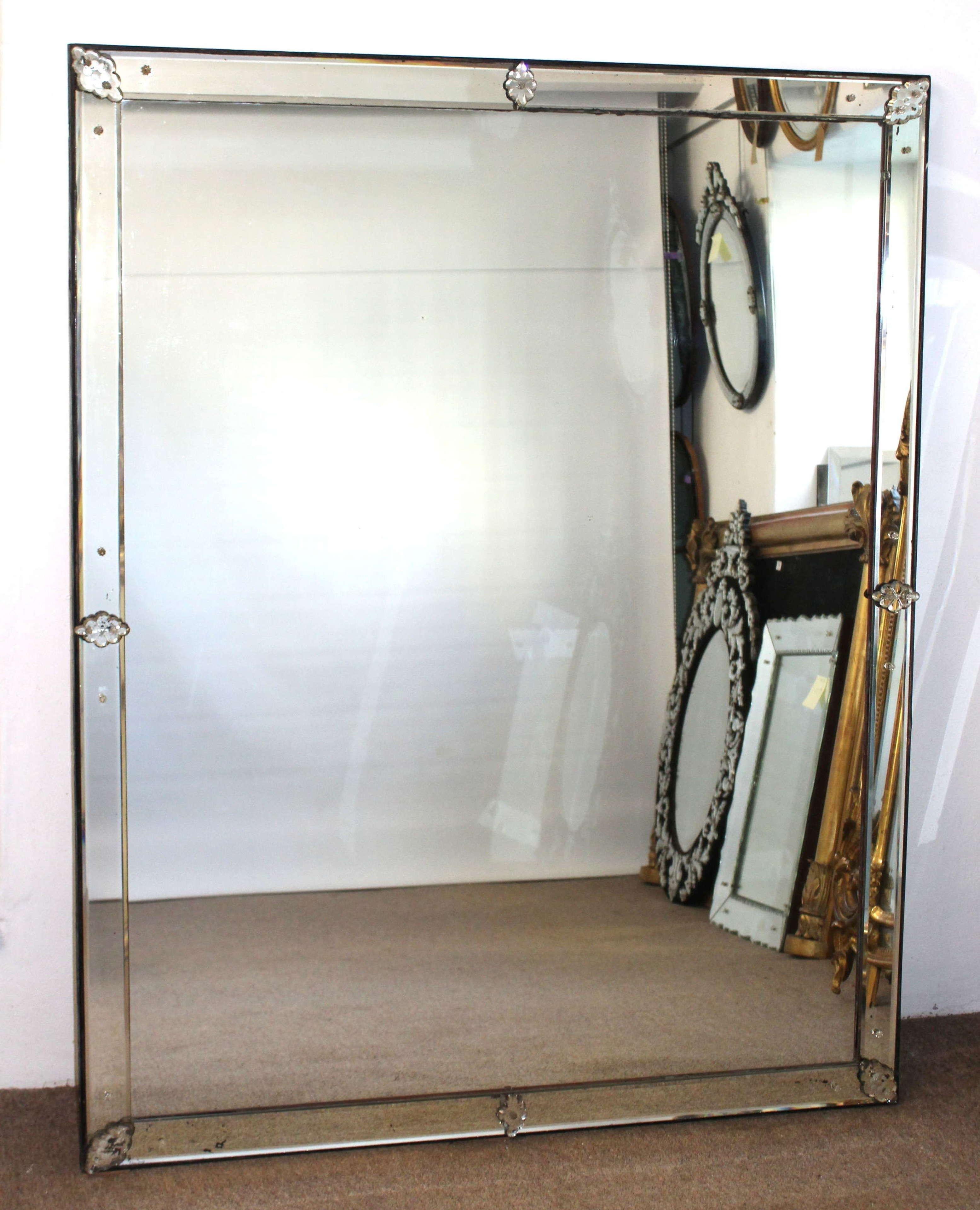 Large, rectangular antique Venetian mirror