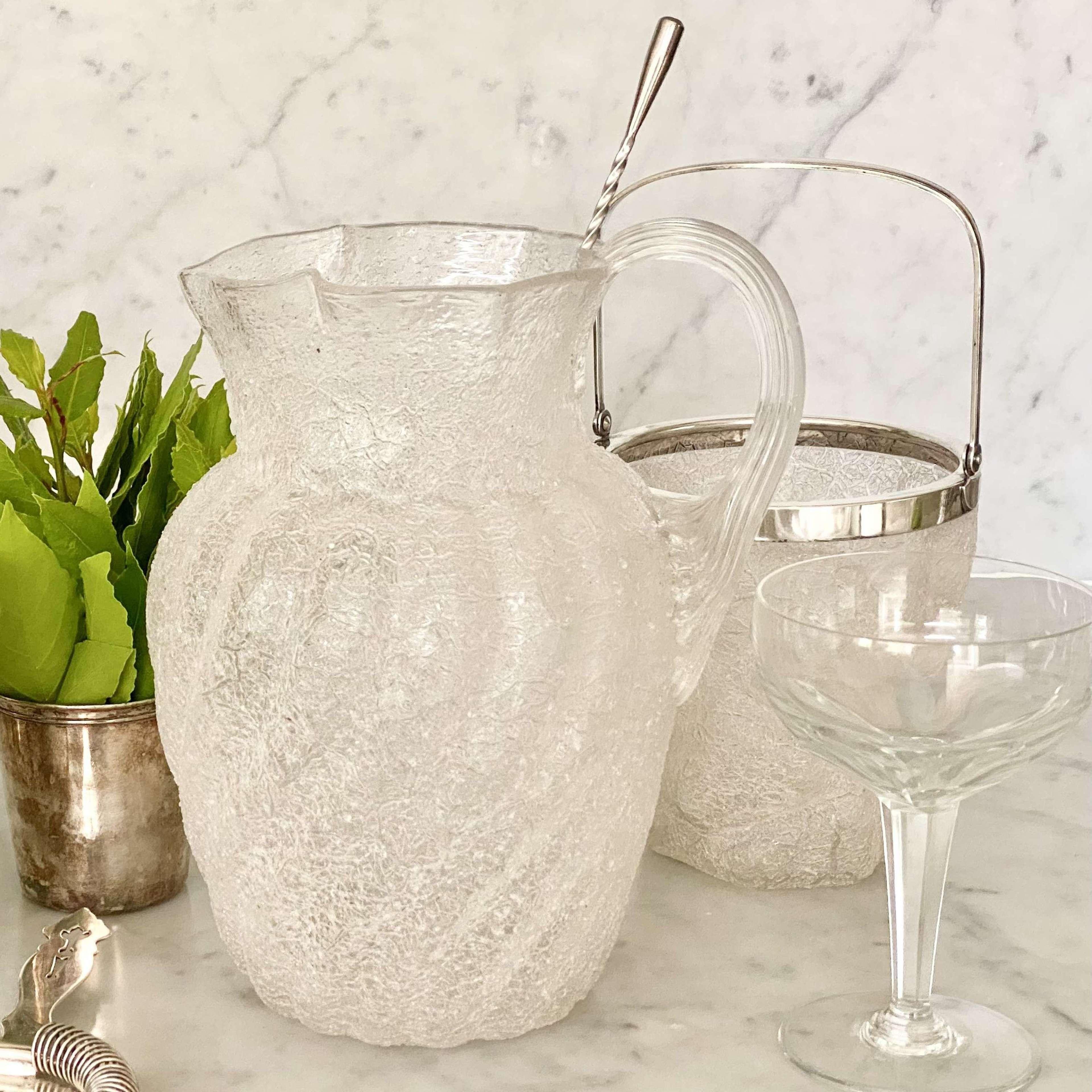 WMF iceberg glass & silver plated ice bucket & jug