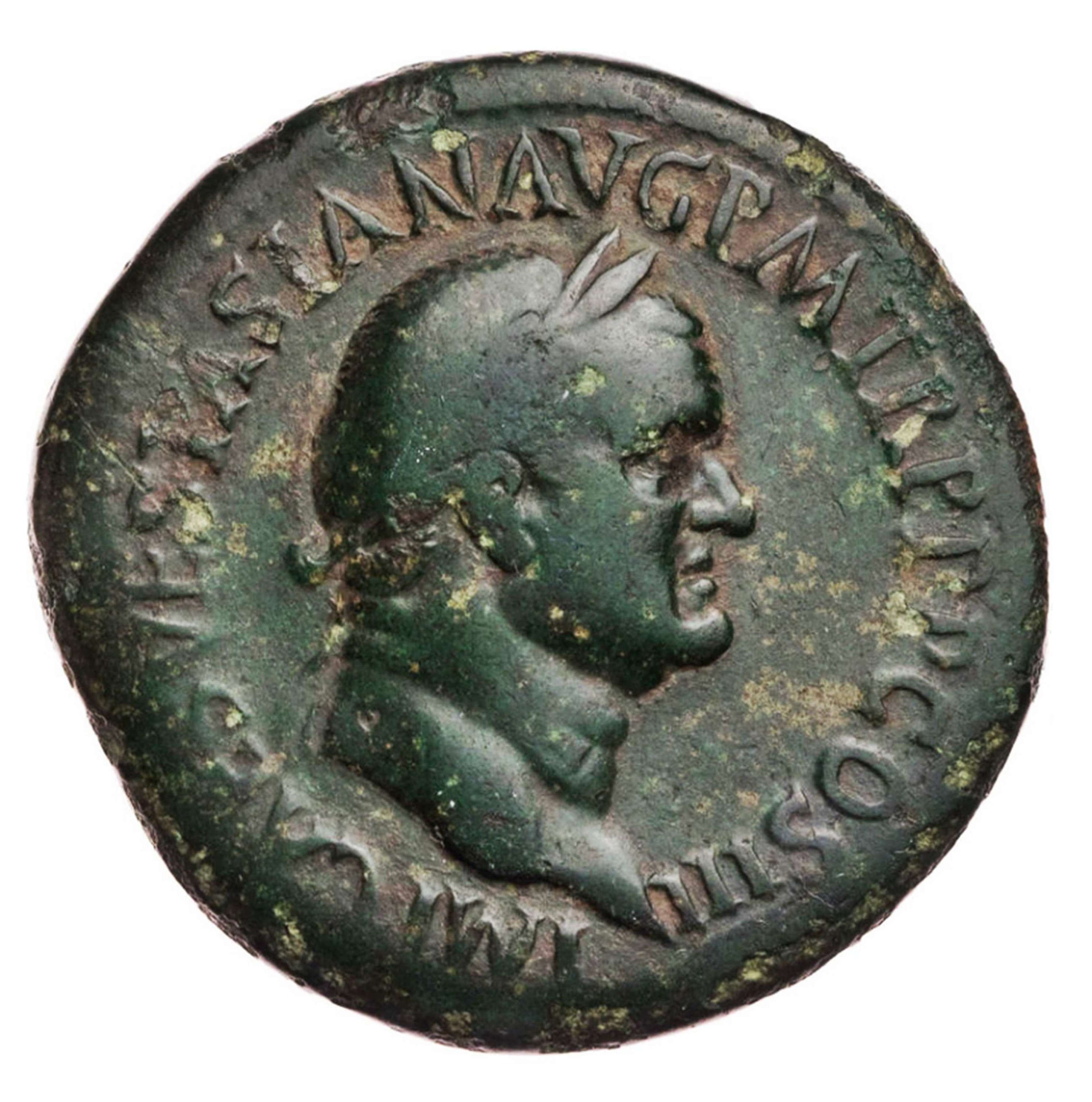 Ancient Roman AE Sestertius of Emperor Vespasian / Roma