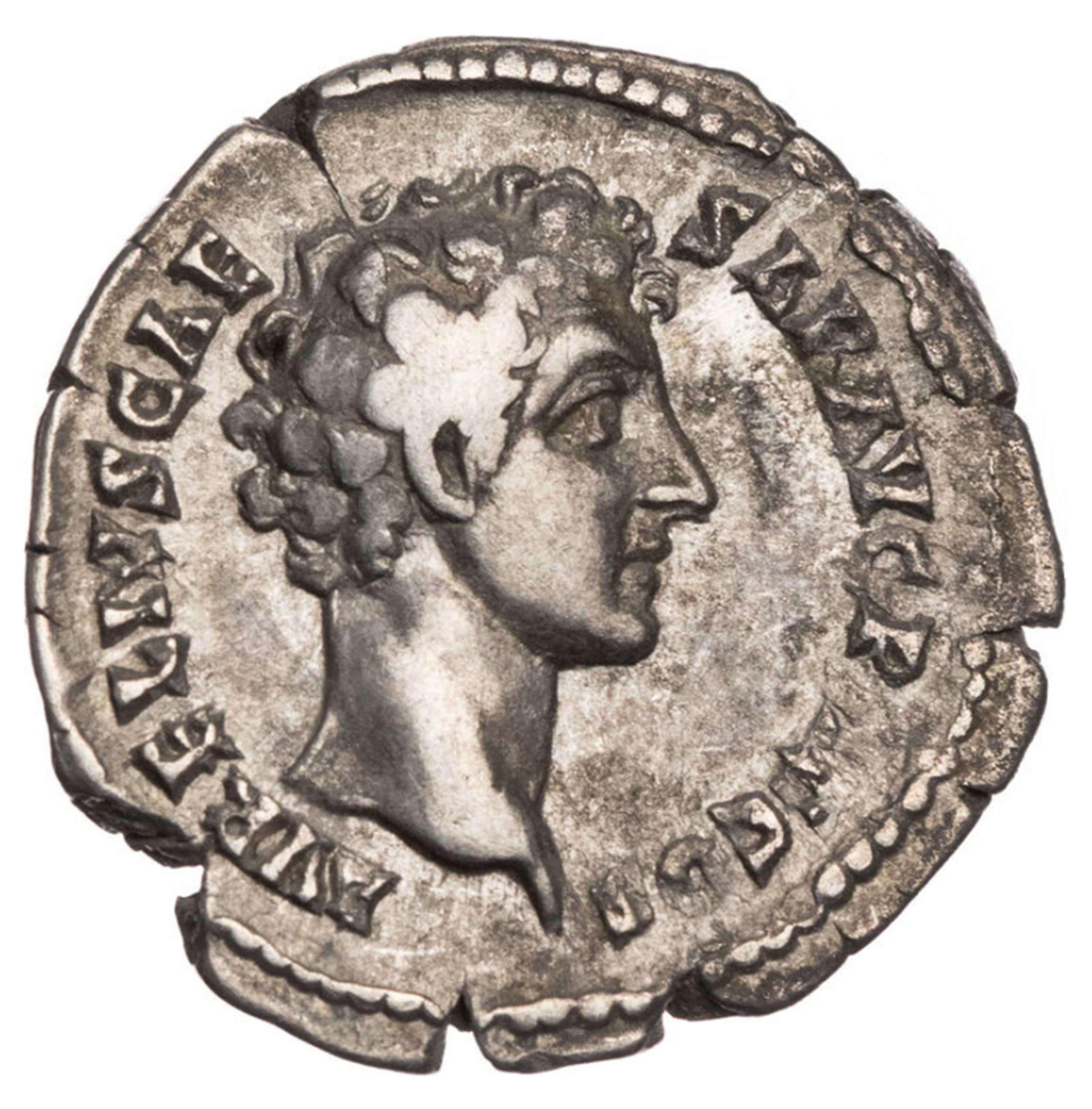 Ancient Roman Silver Denarius of Marcus Aurelius Caesar / Youth