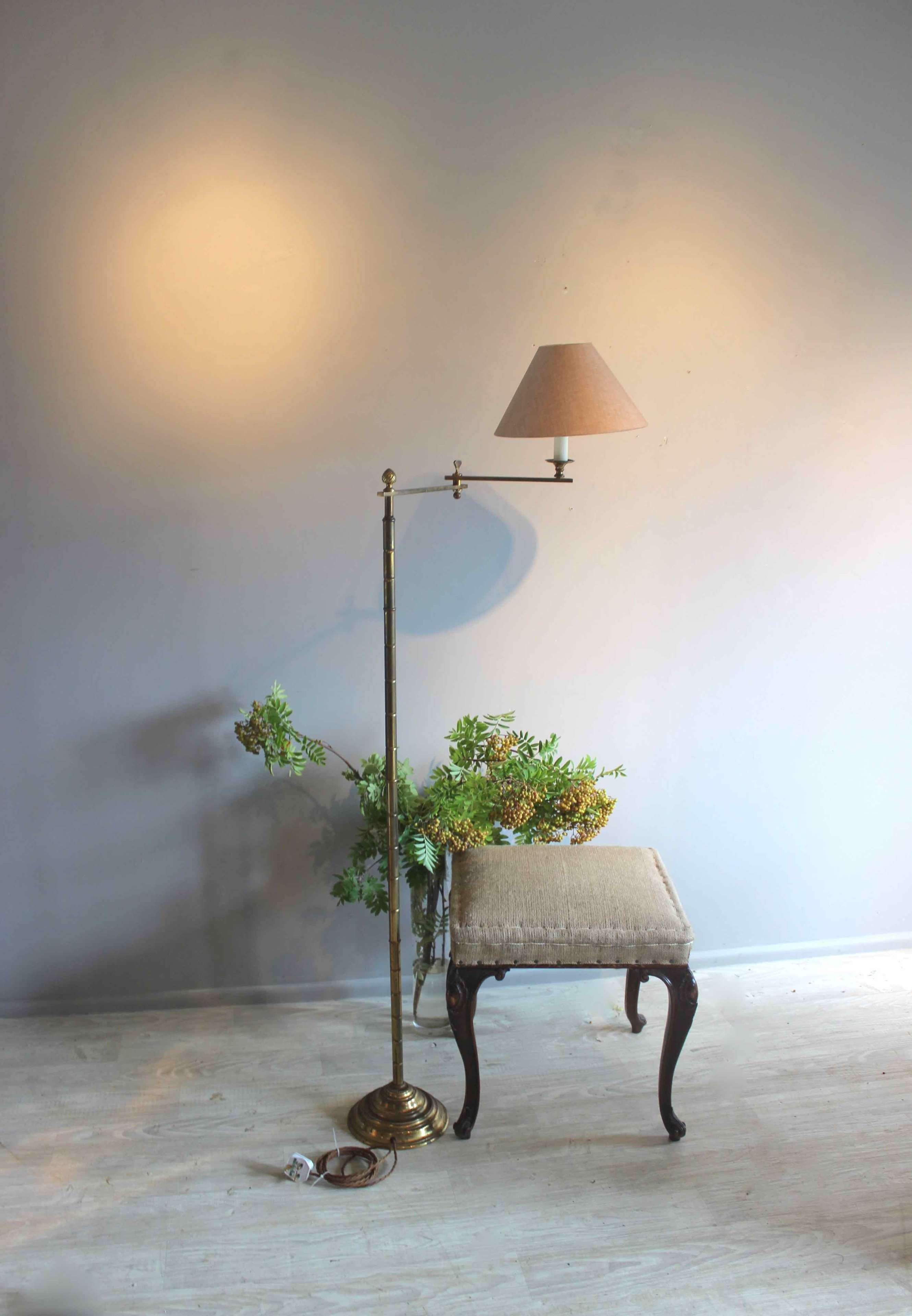 Bamboo style swing arm library light