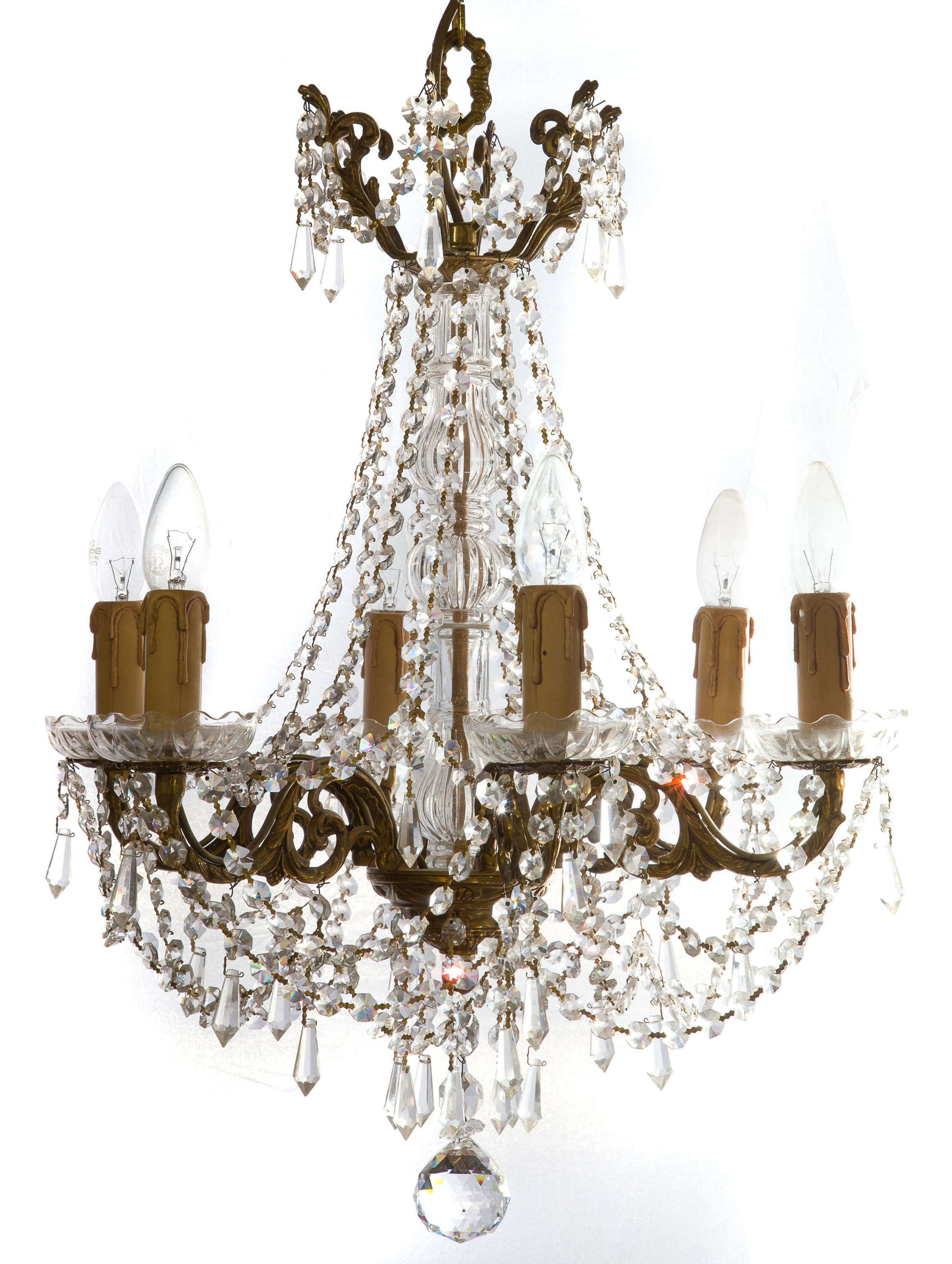 A six branch crystal chandelier with brass gilt frame