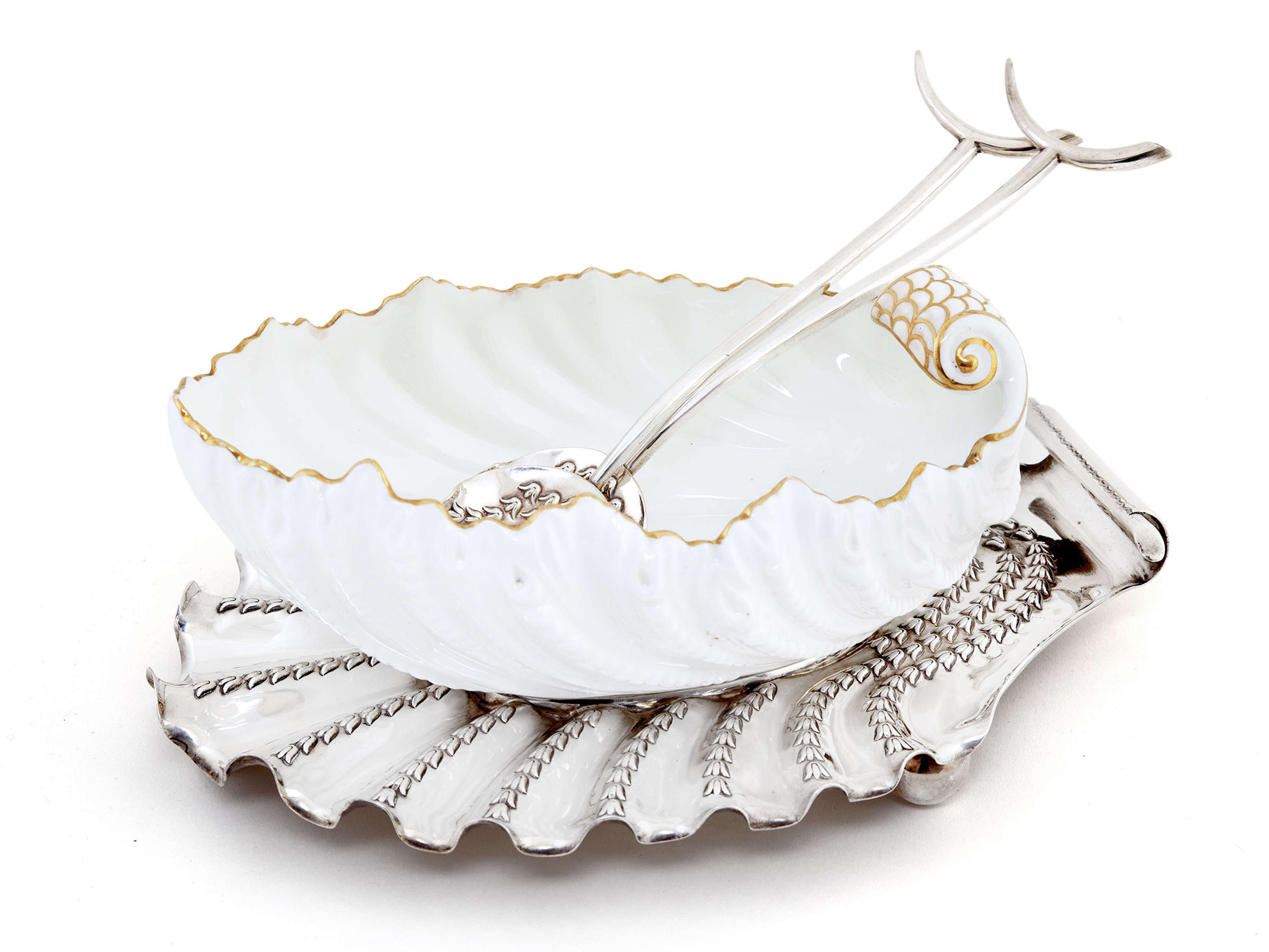 Coalport Serving Dish on Silver Plate Stand with Original Servers