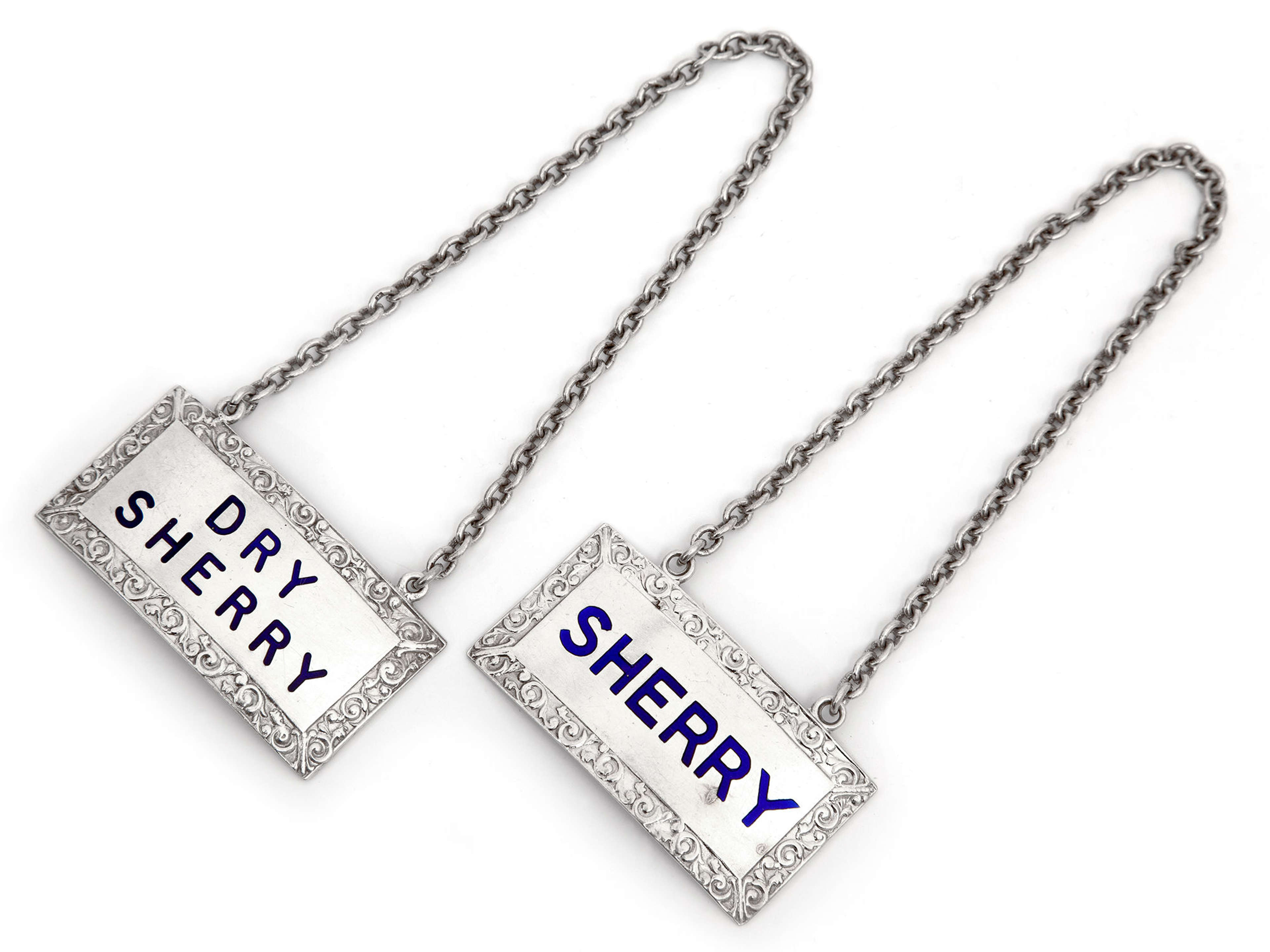 Pair of Silver Sherry Decanter Labels with Blue Enamel Lettering