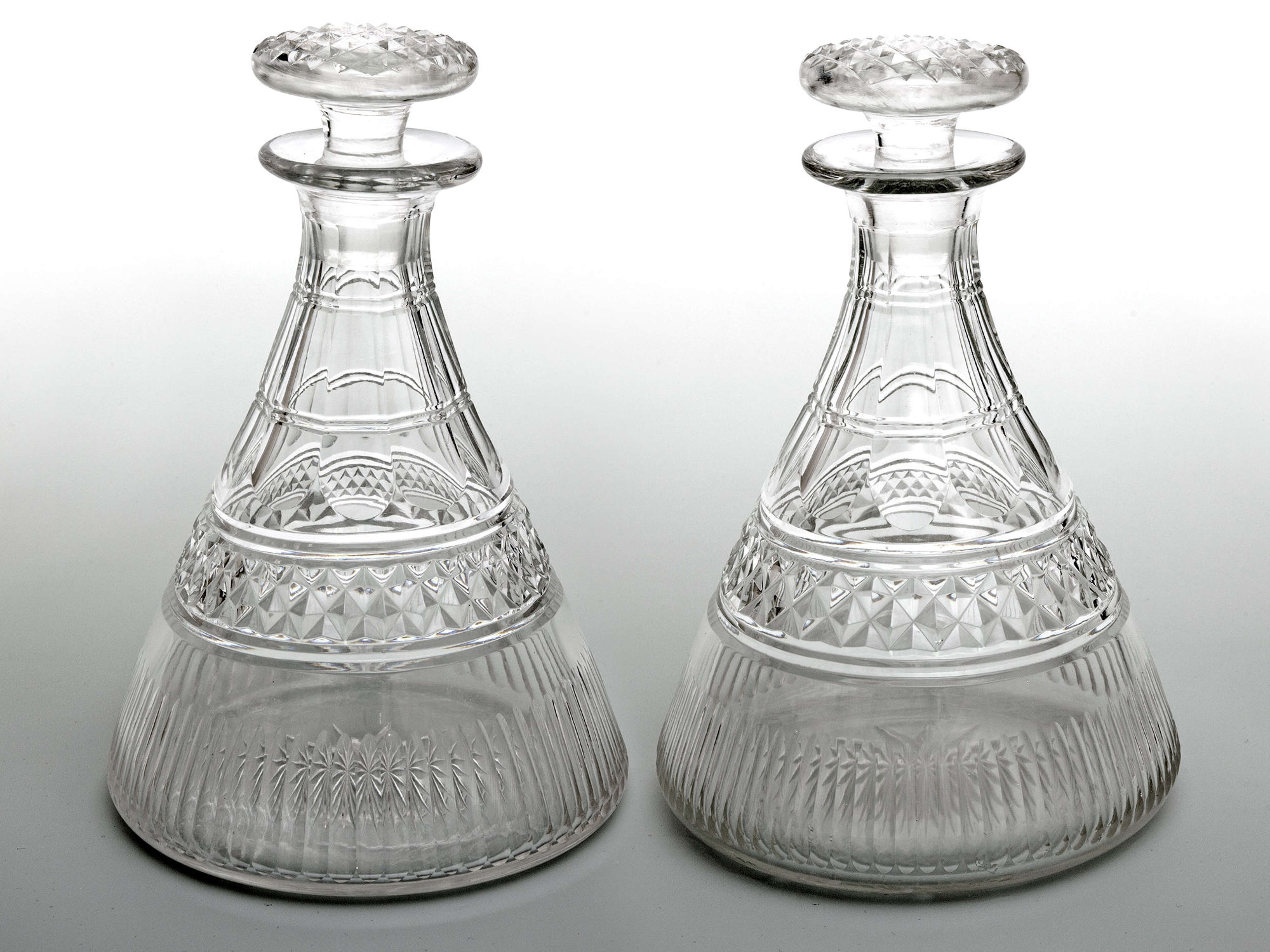Pair of Antique Cut Glass Georgian Style Ships Decanters