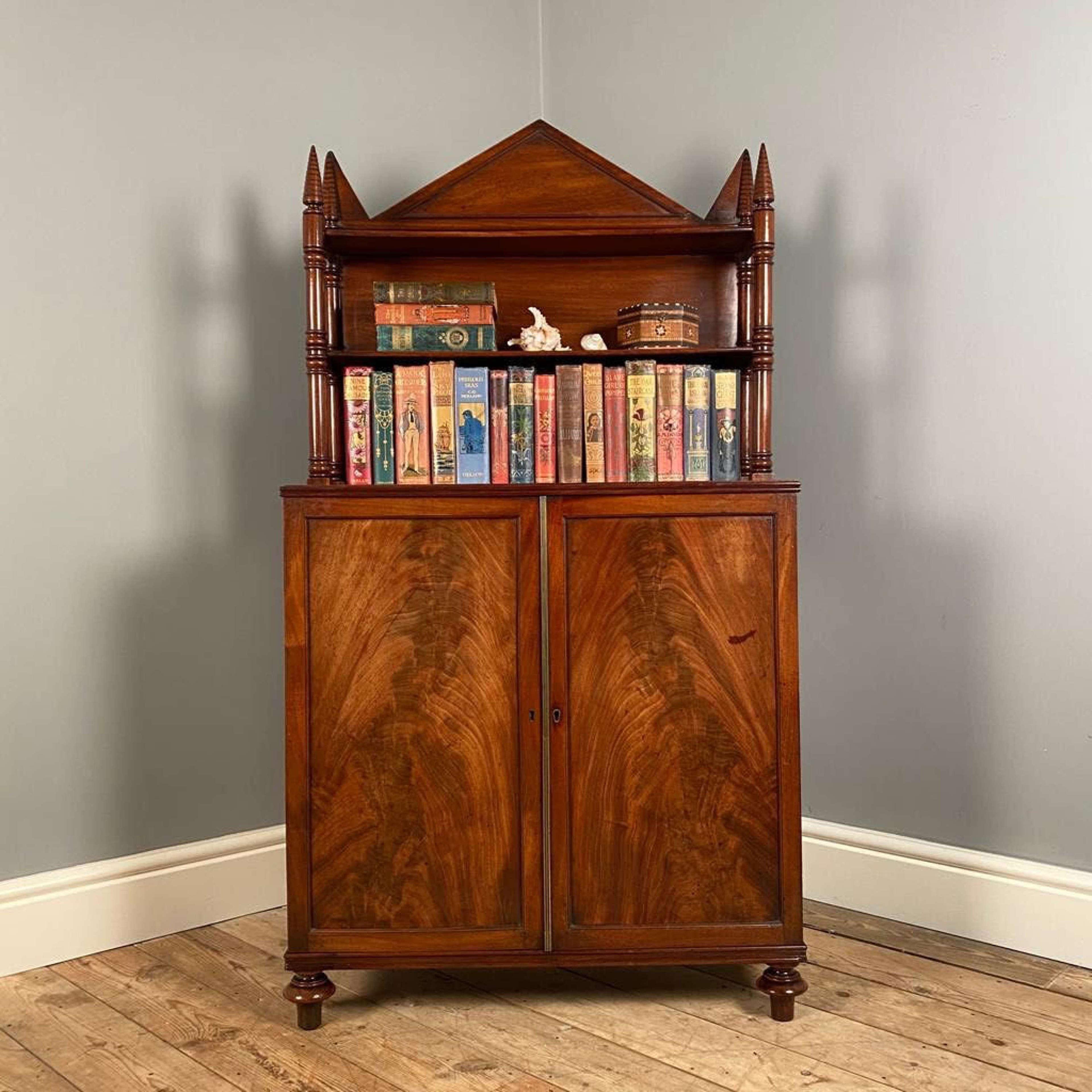 19th C  Diminutive Bookcase Cabinet