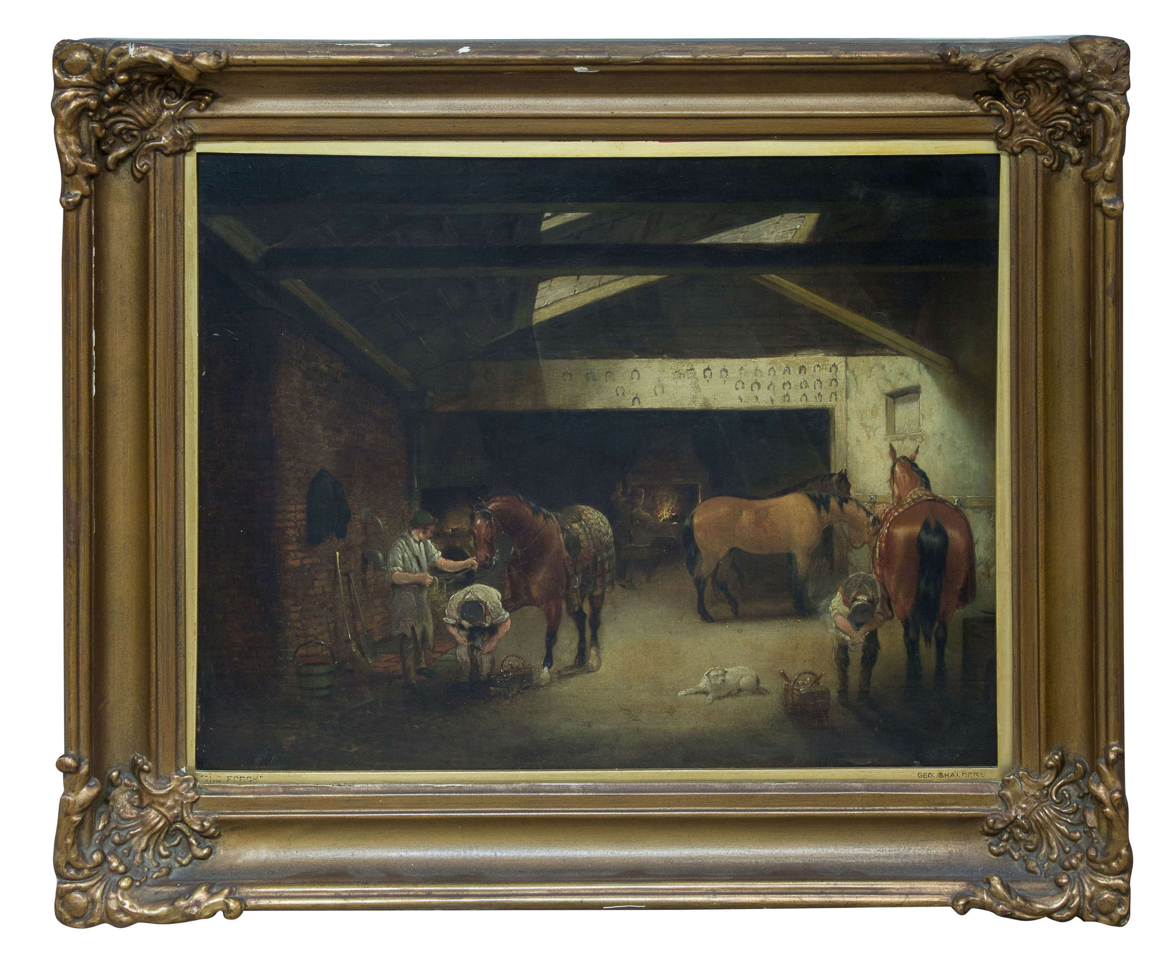 An oil on canvas - showing Farriers at work - signed George Shalders