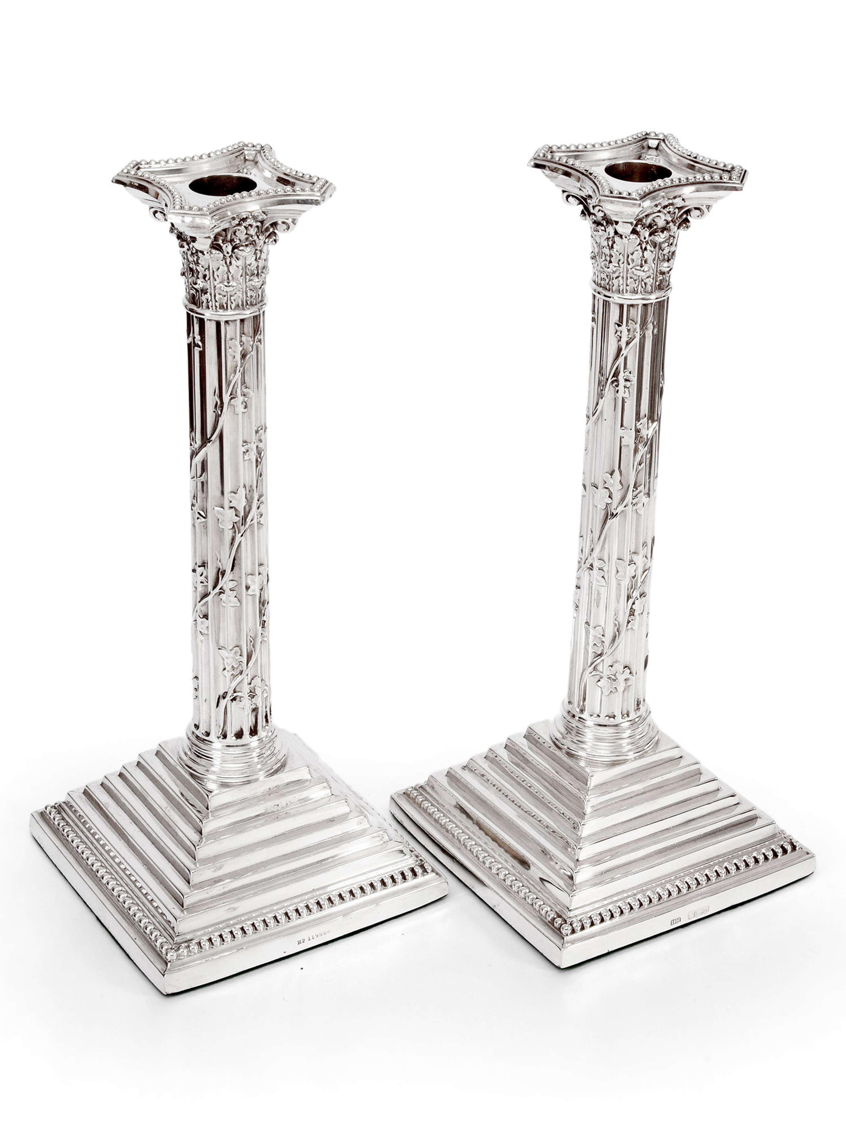 Pair of Victorian Silver Corinthian Column 12