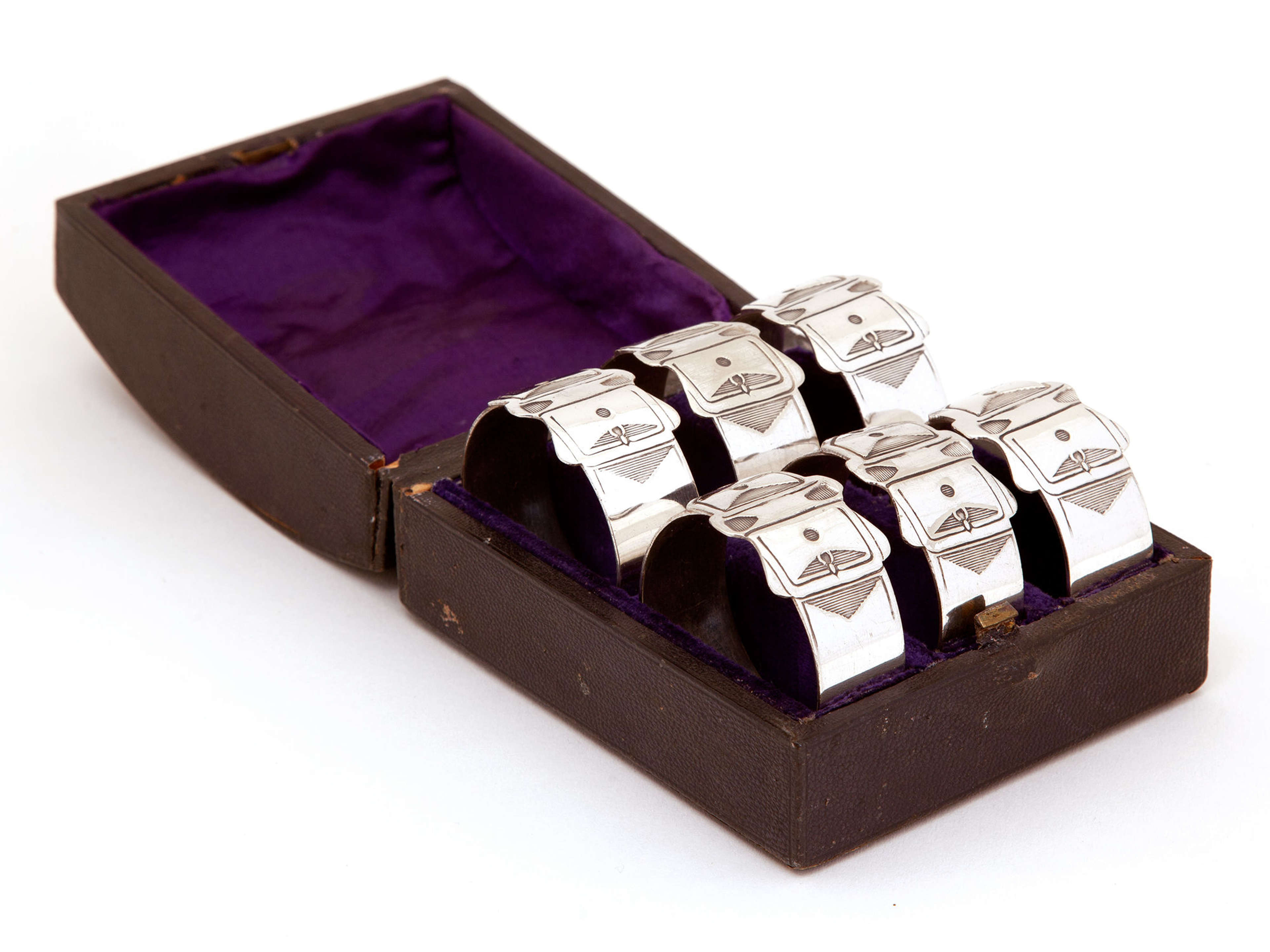 Victorian Set of Six Silver Plated Belt and Buckle Style Napkin Rings