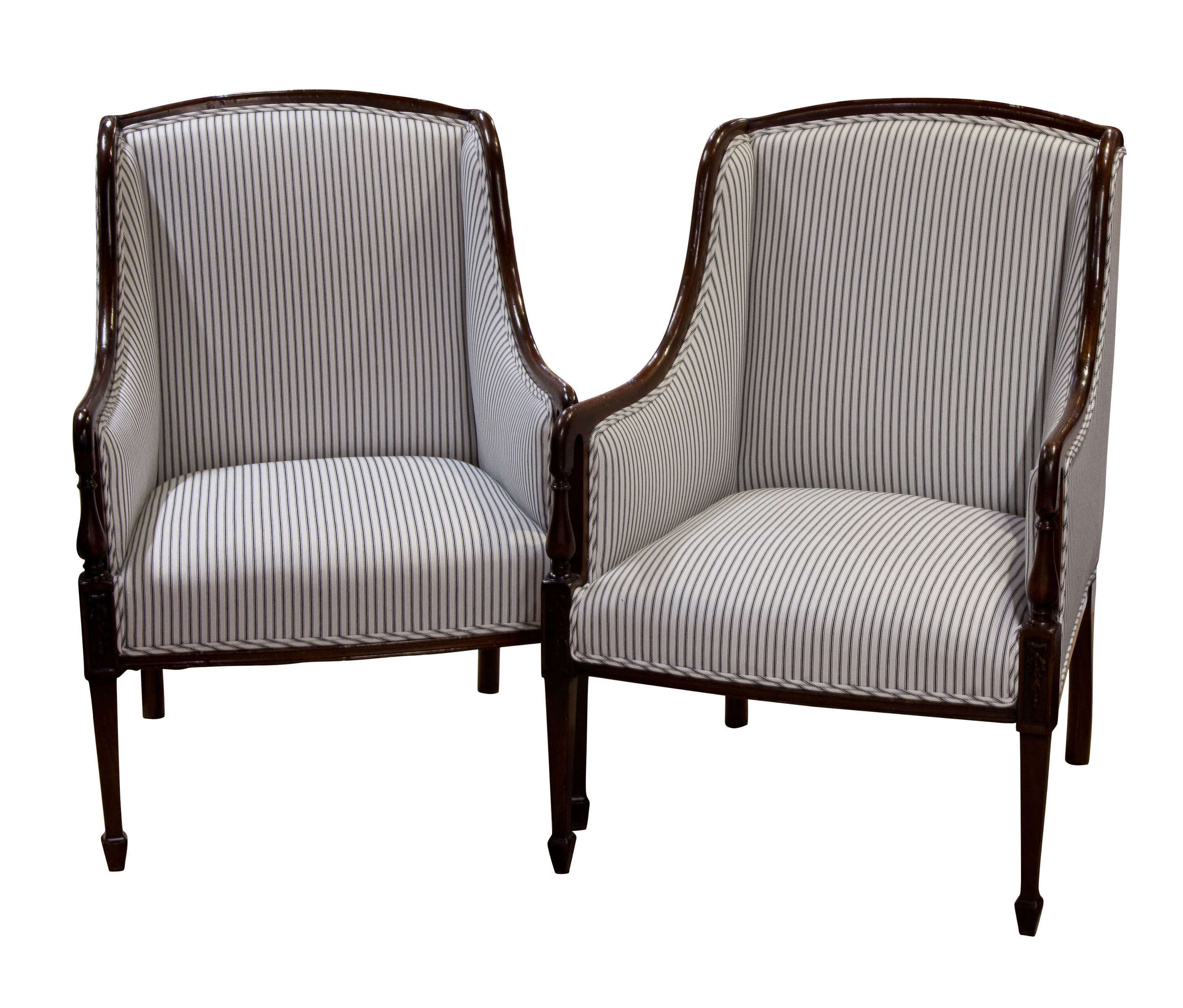 Pair of Edwardian library chairs