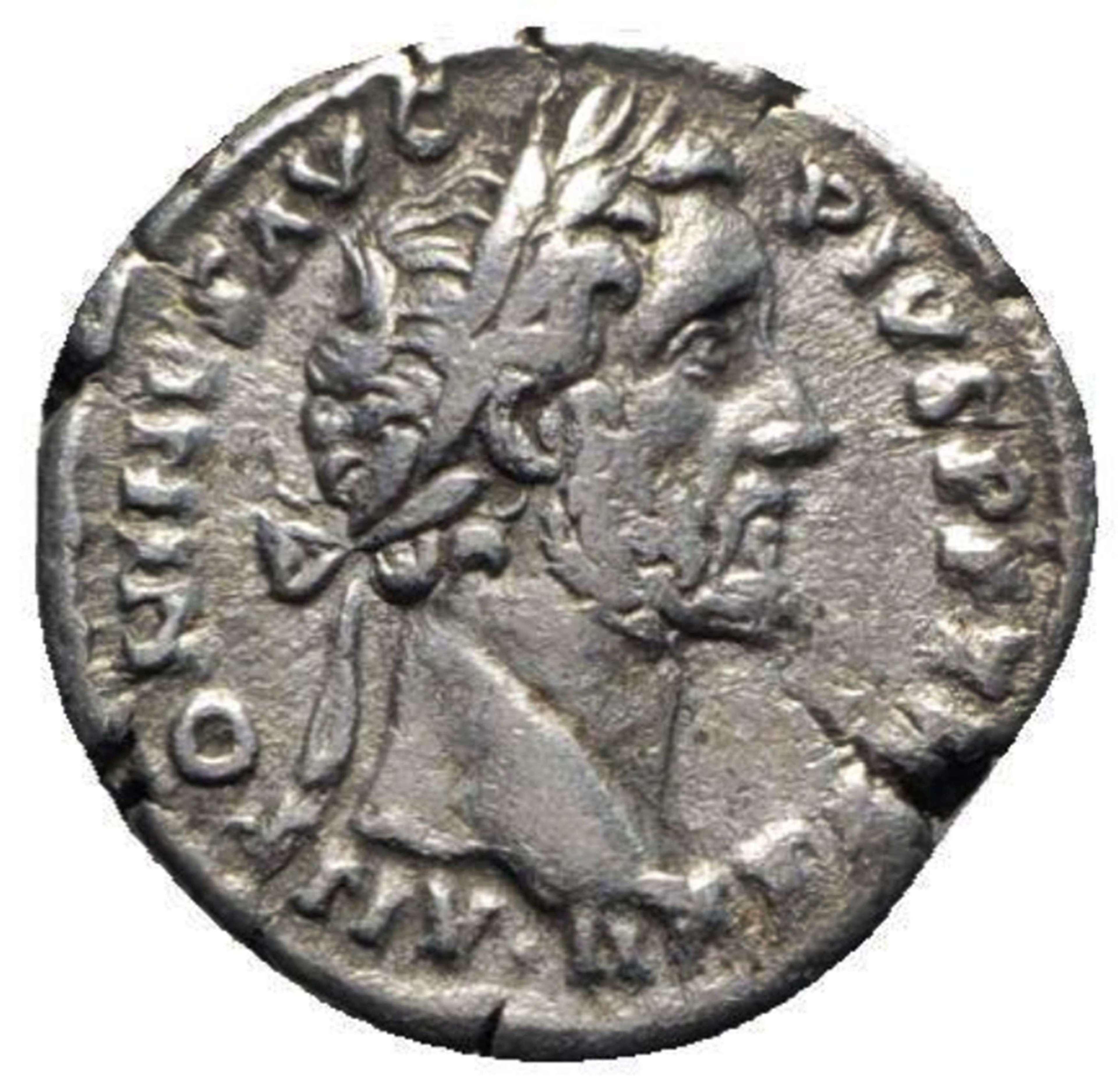 Ancient Roman Silver Denarius of Emperor Antoninus Pius /
