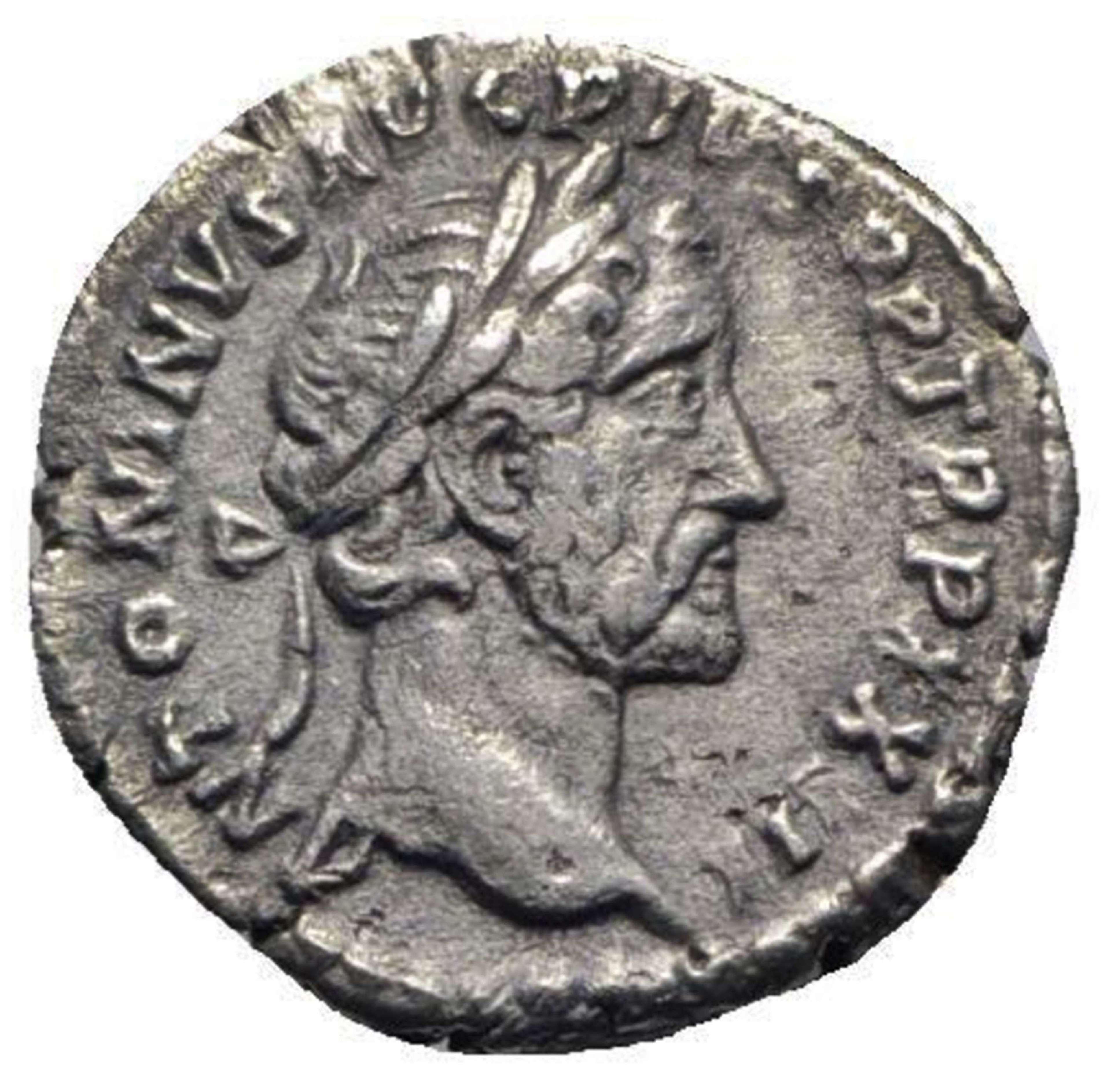 Ancient Roman Silver Denarius of Emperor Antoninus Pius / Health