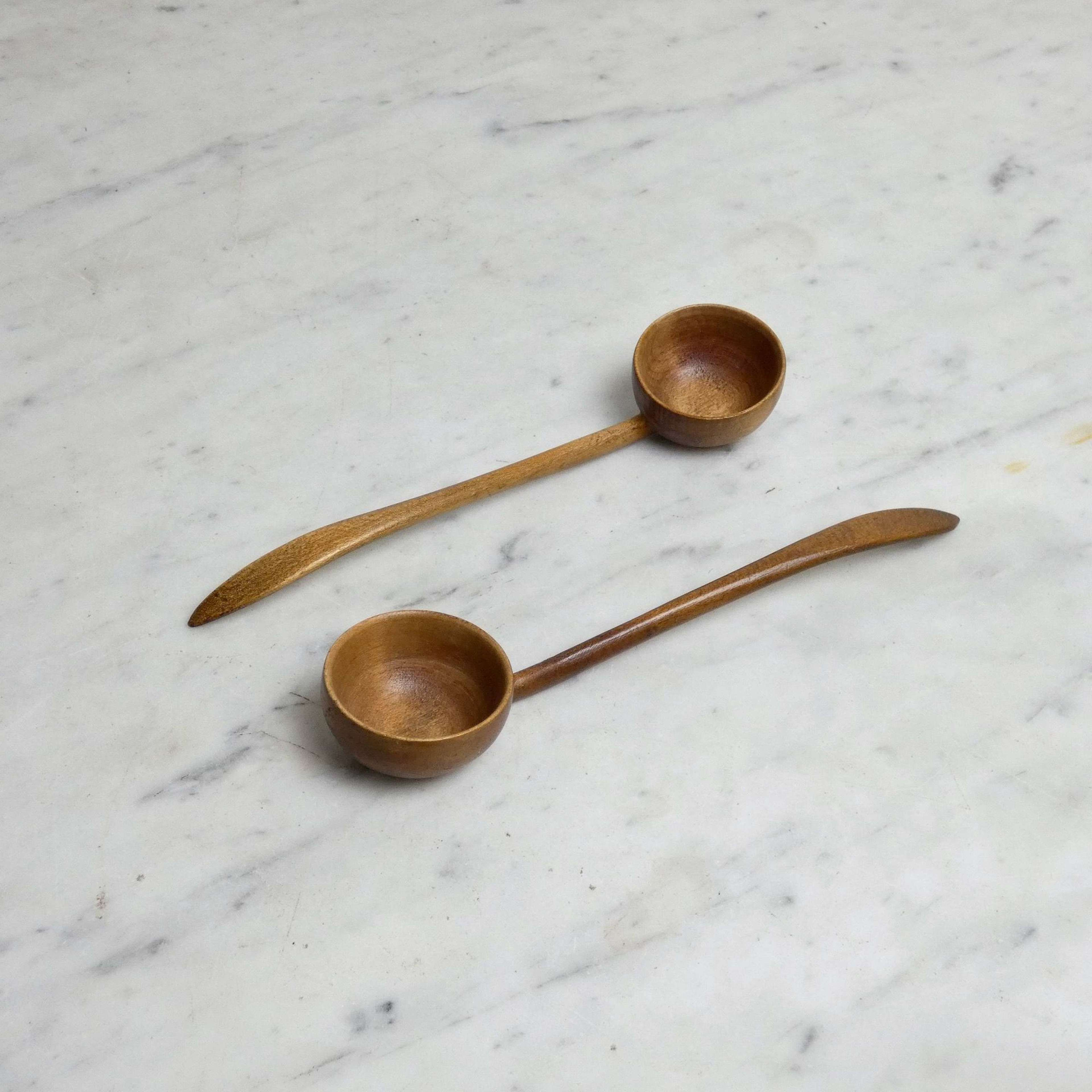 Two 19th century, wooden toddy ladles