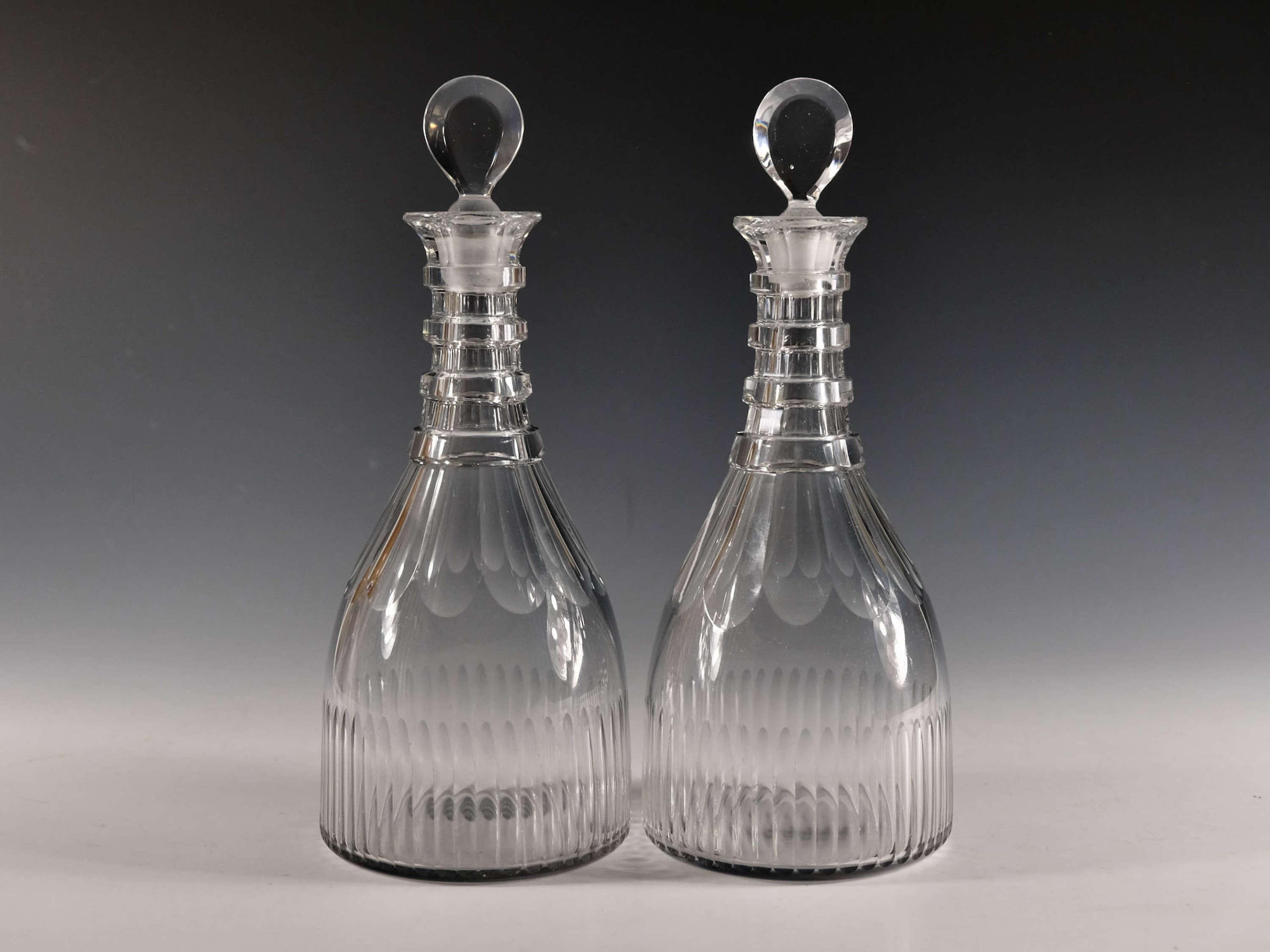 Antique glass pair of decanter English c1810