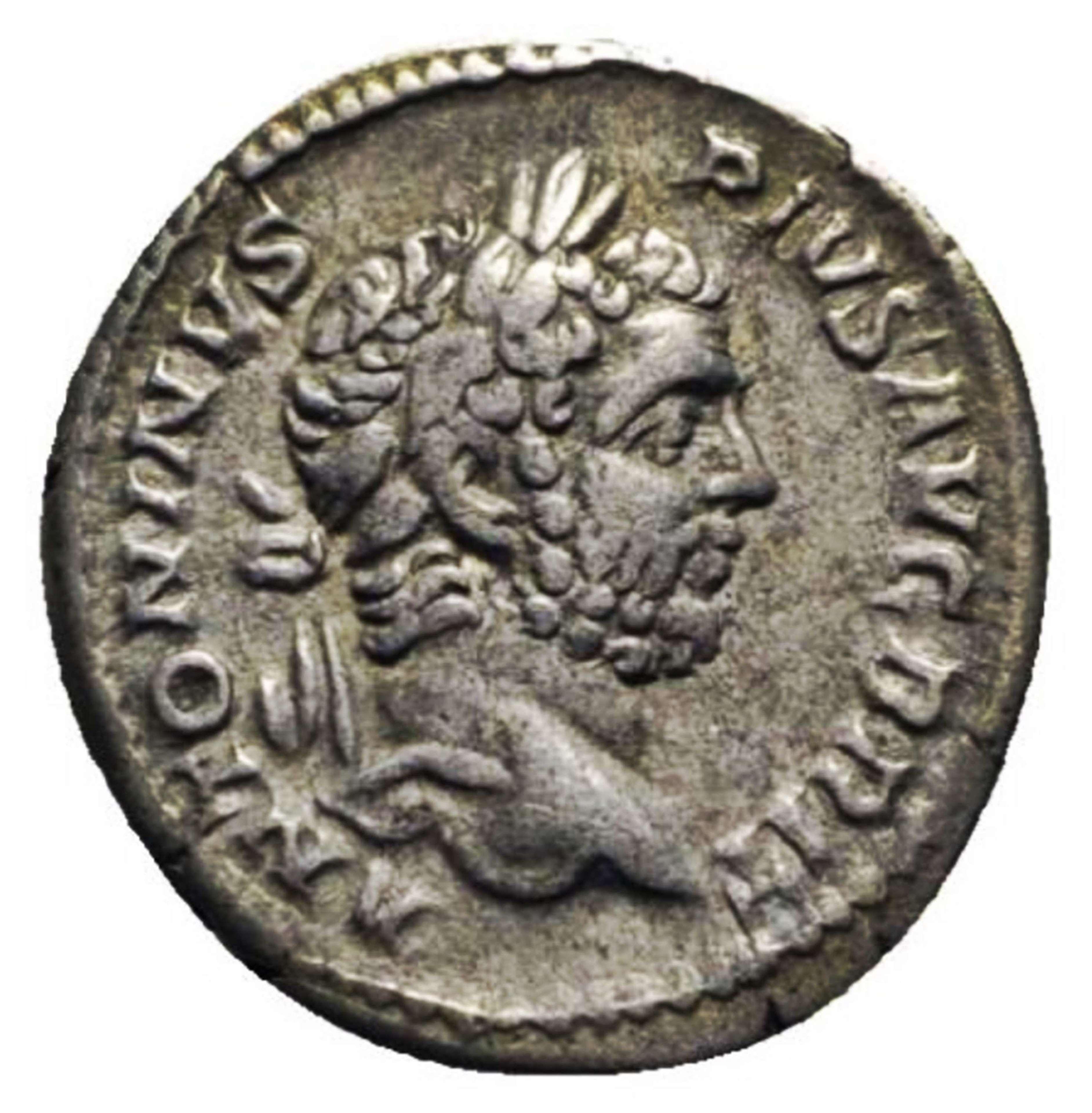 Ancient Roman silver denarius of Caracalla / Concordia