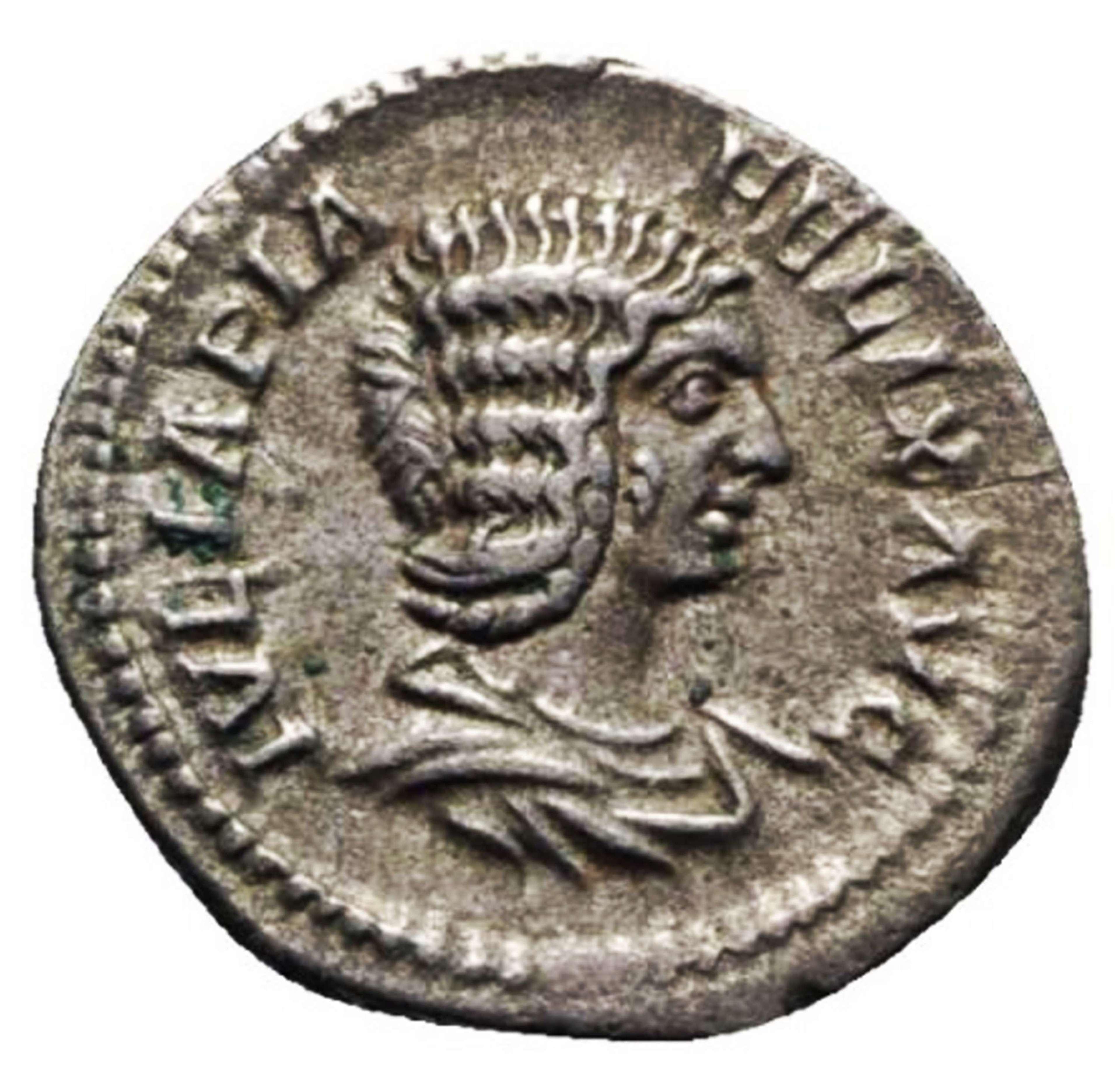 Ancient Roman silver denarius of Julia Domna / Diana bringer of light