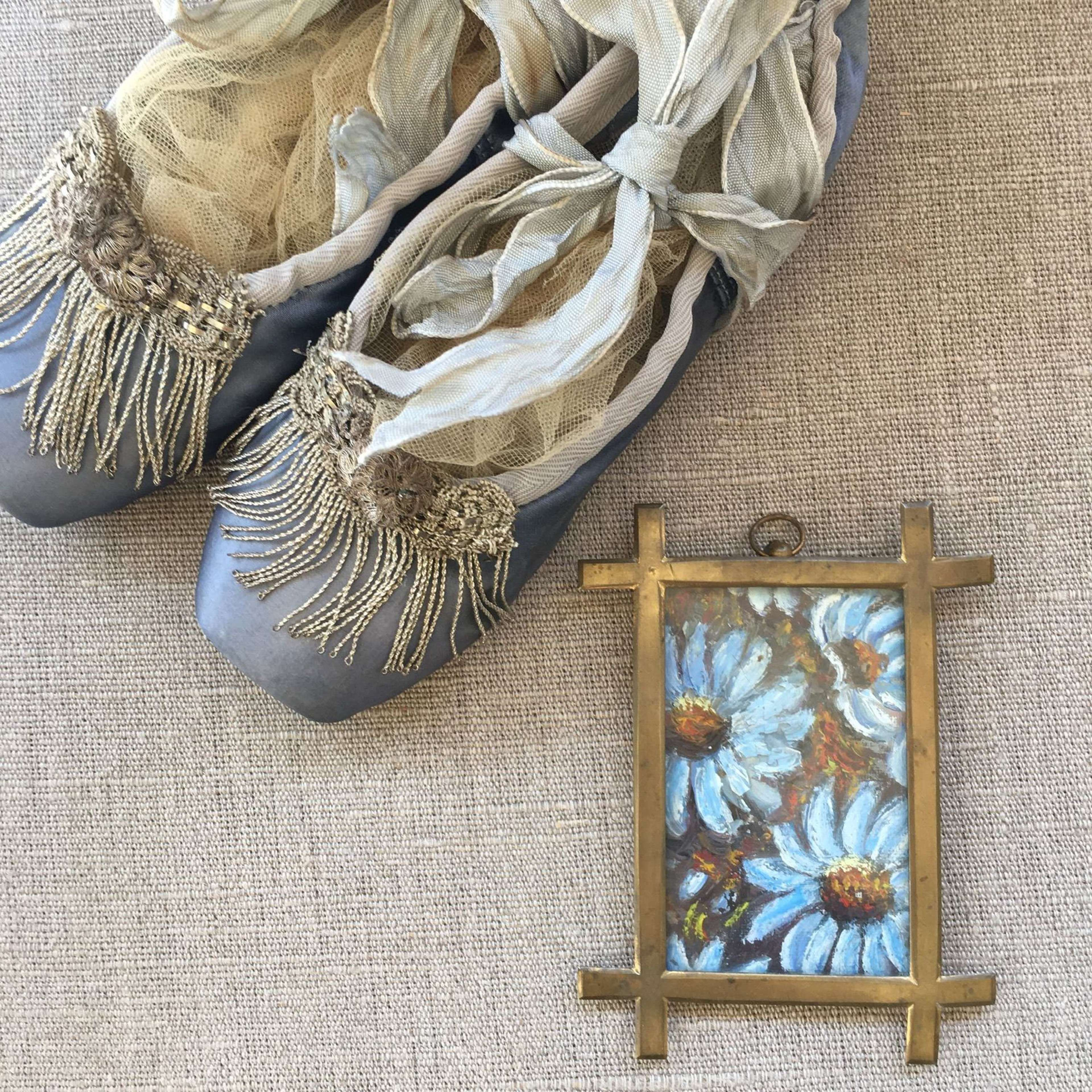 Vintage pointe ballet shoes with antique gold French trims