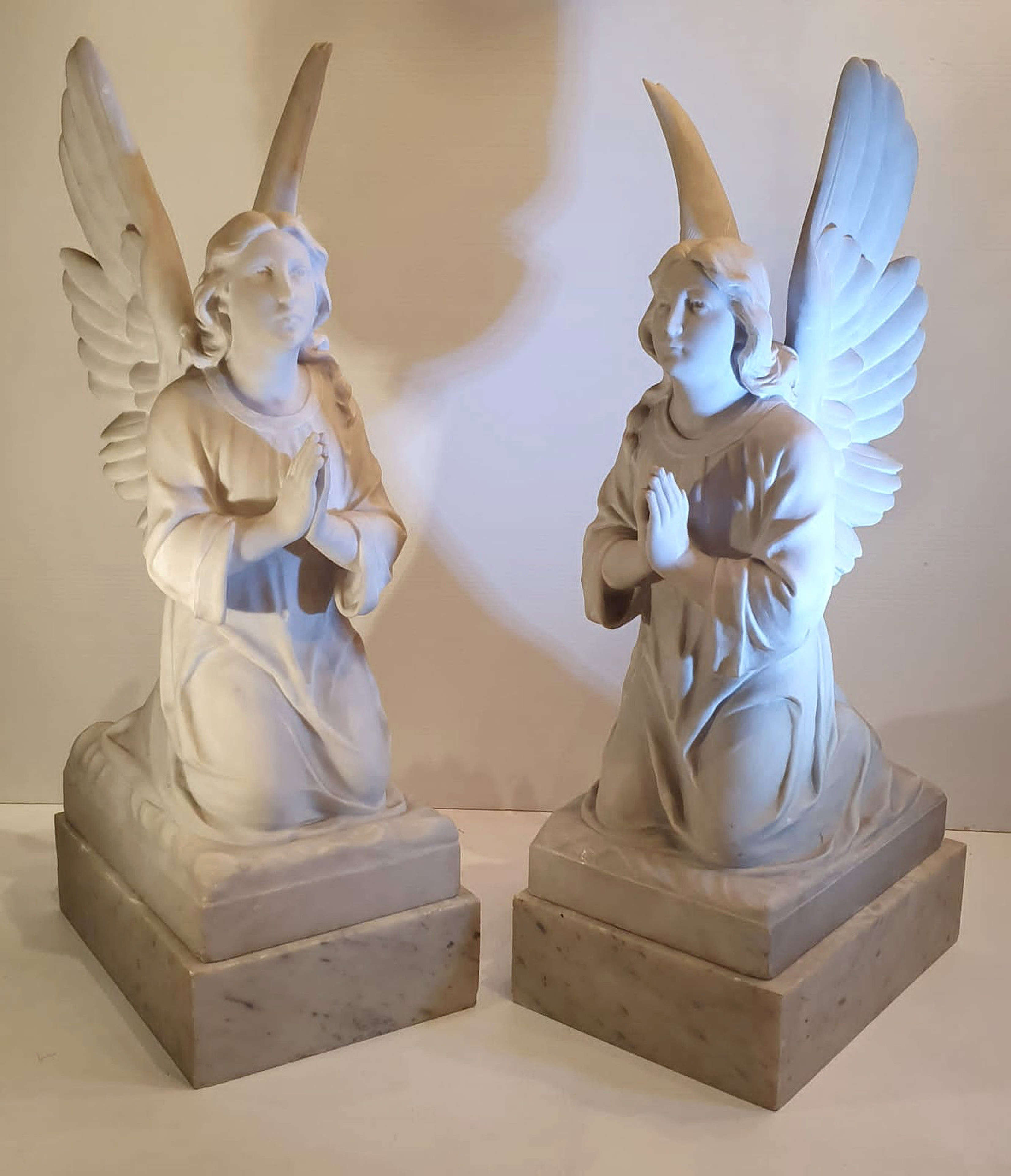 Pair of 19th Century White Marble Statues of Angels