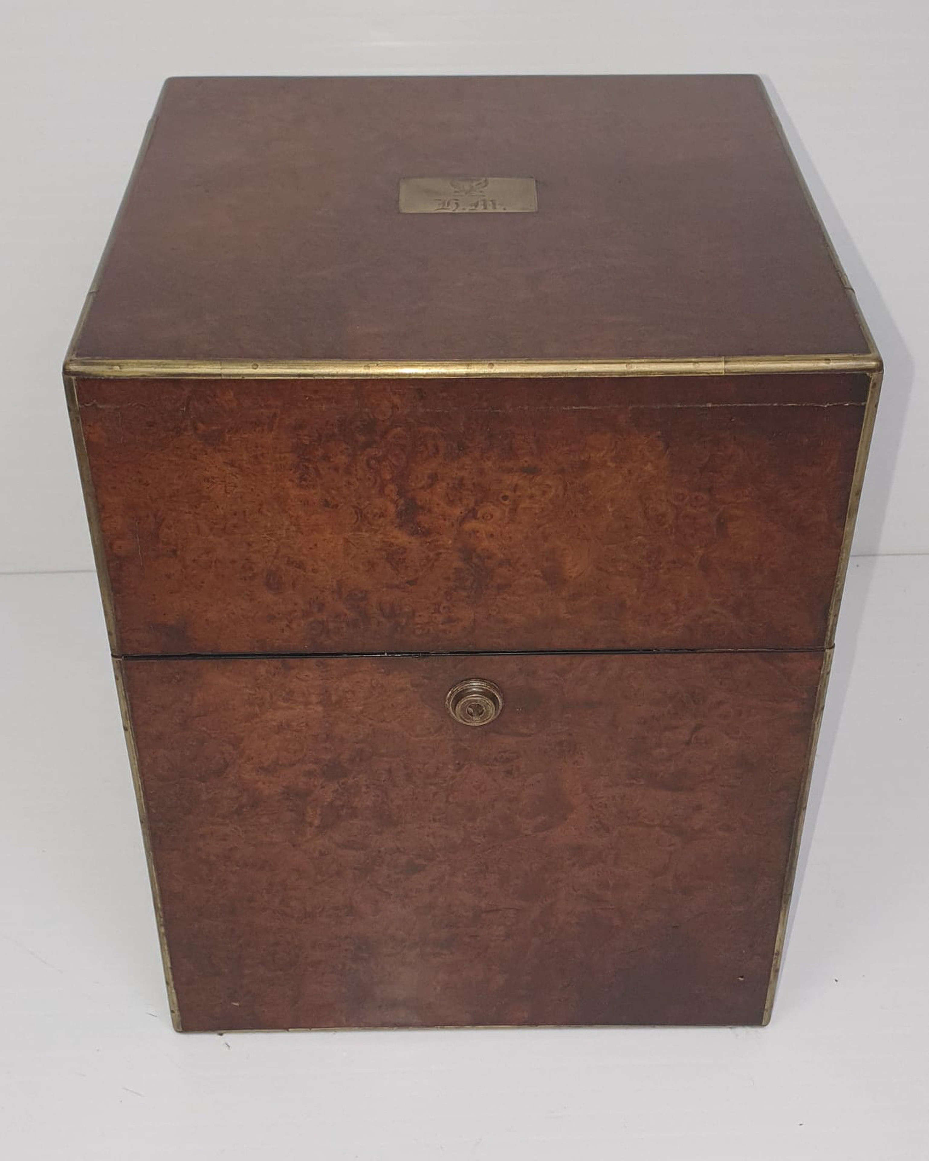 19th Century Decanter Box with Four Cut Glass Decanters