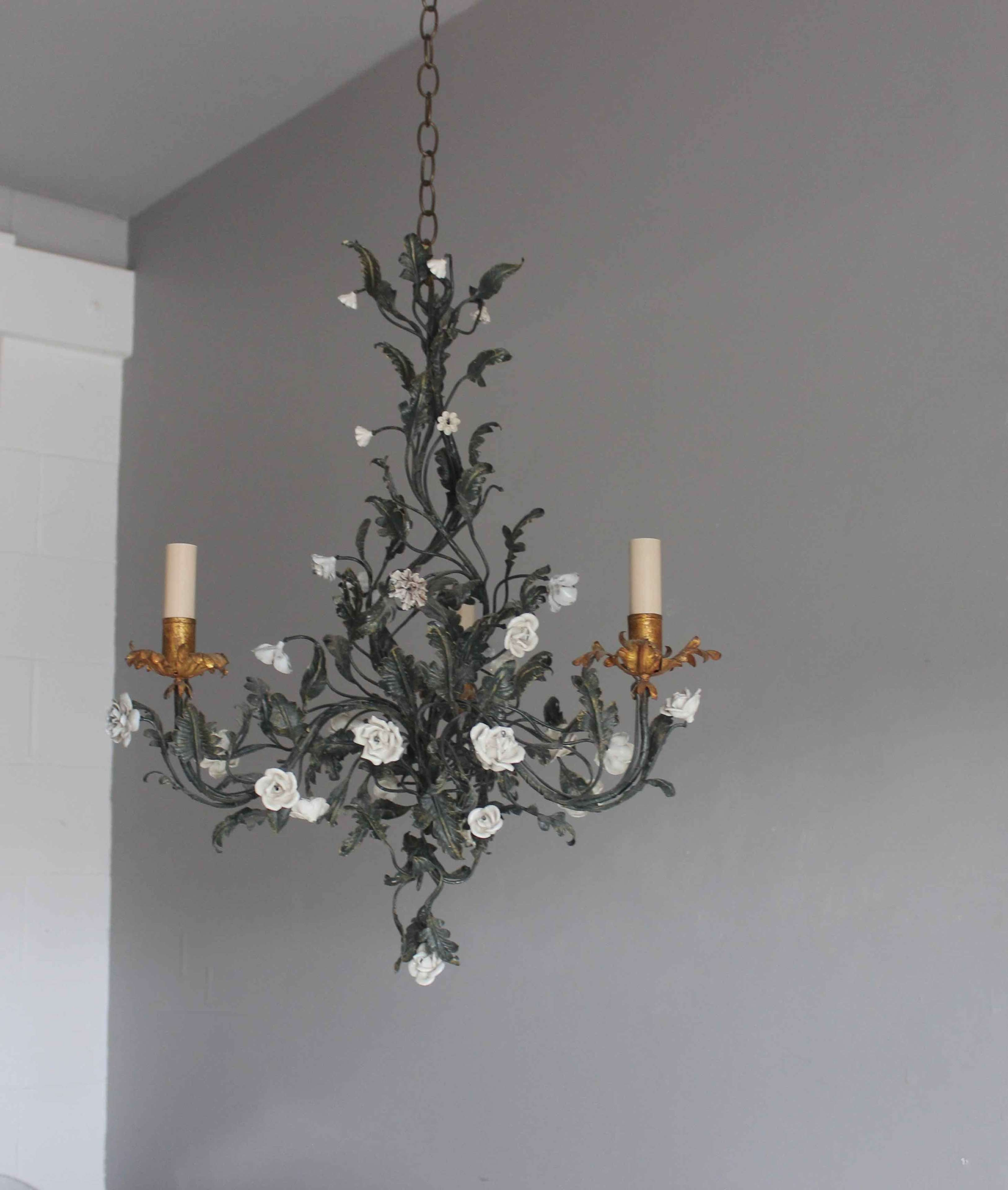 Delightful Italian antique chandelier with leaves and flowers