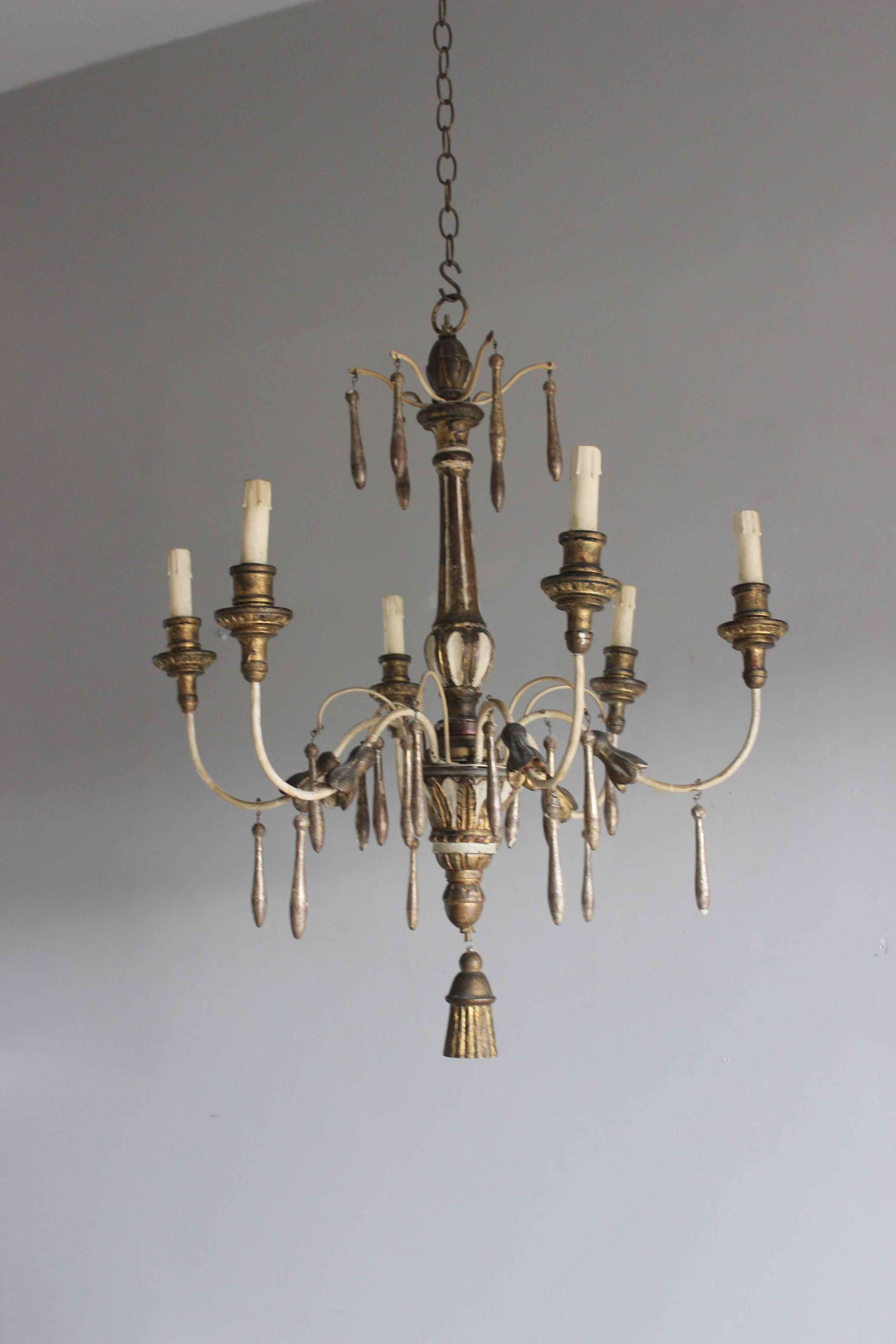 Silver giltwood antique chandelier