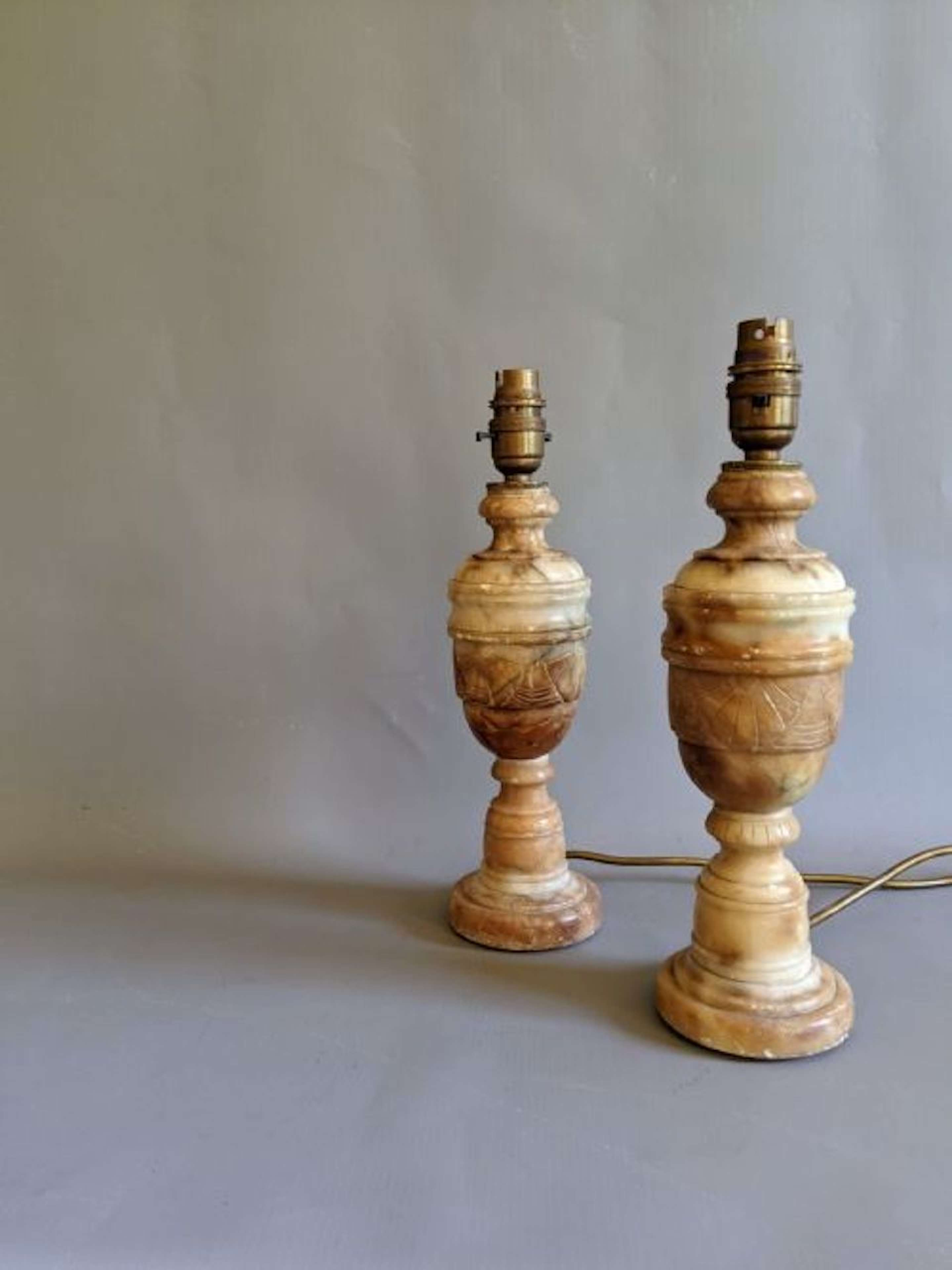 Pair of Early 20th Century Marble Lamps