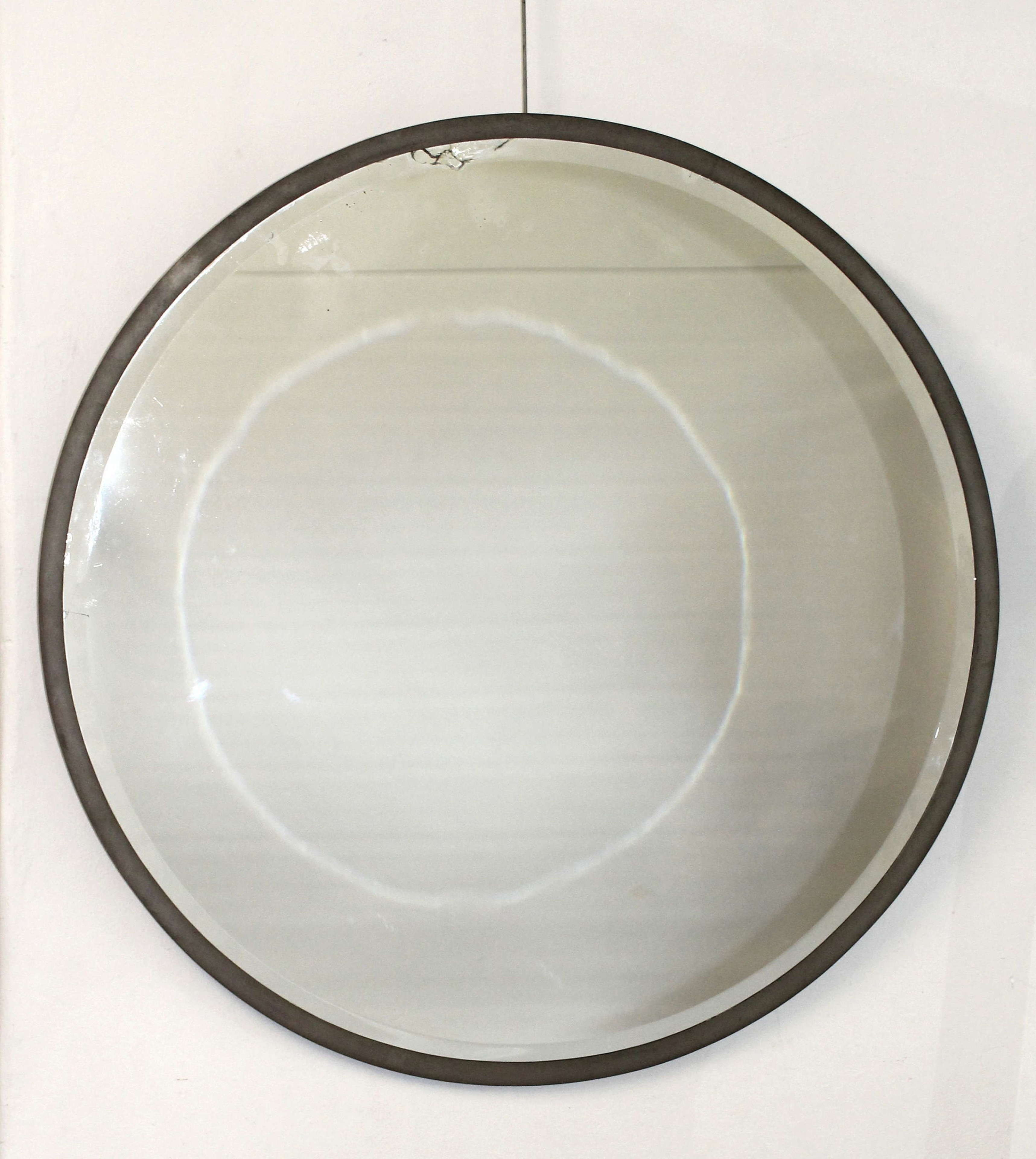 Large Vintage circular mirror with metal frame
