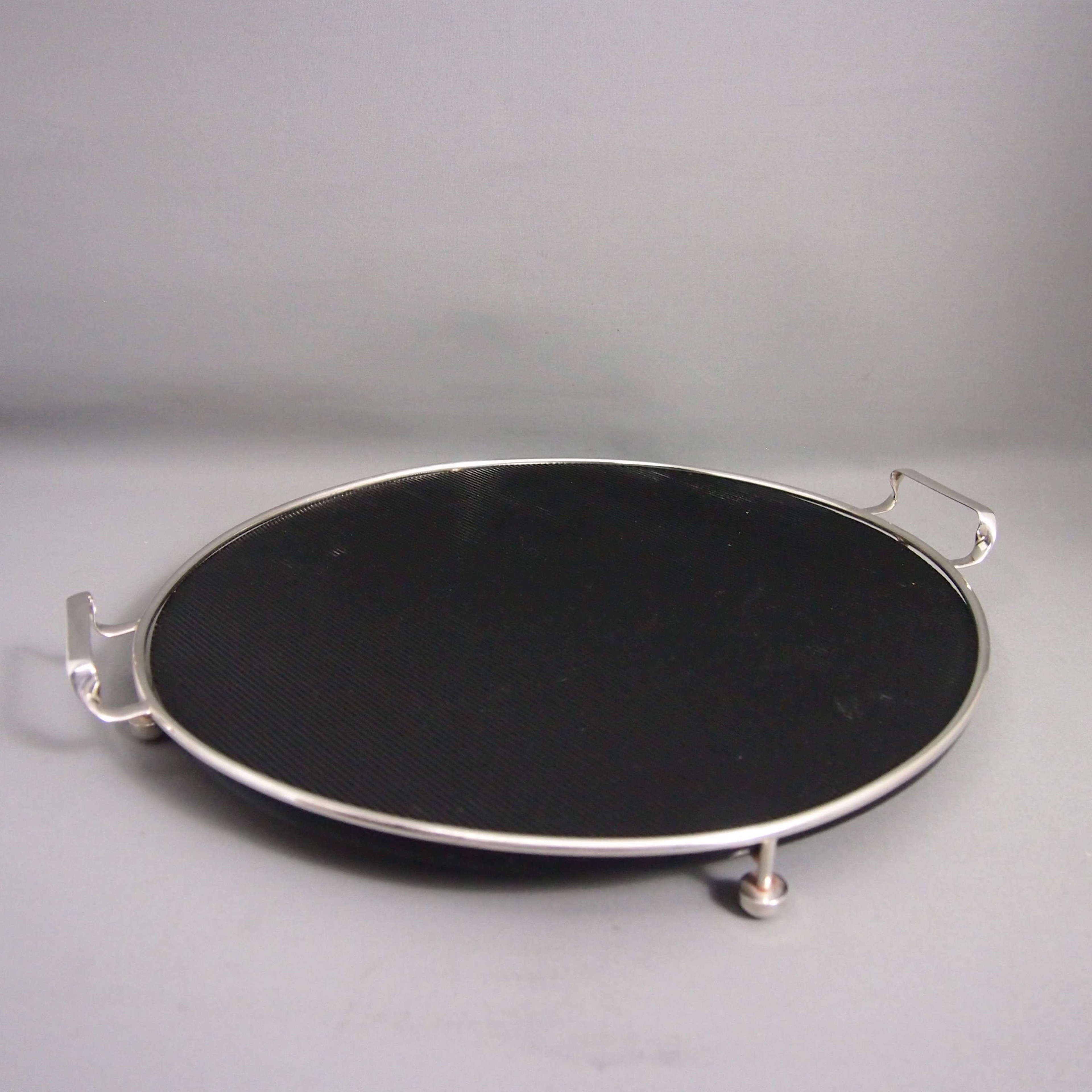 Circular Vintage Silver Plated Deco Glass Cocktail Tray W8674