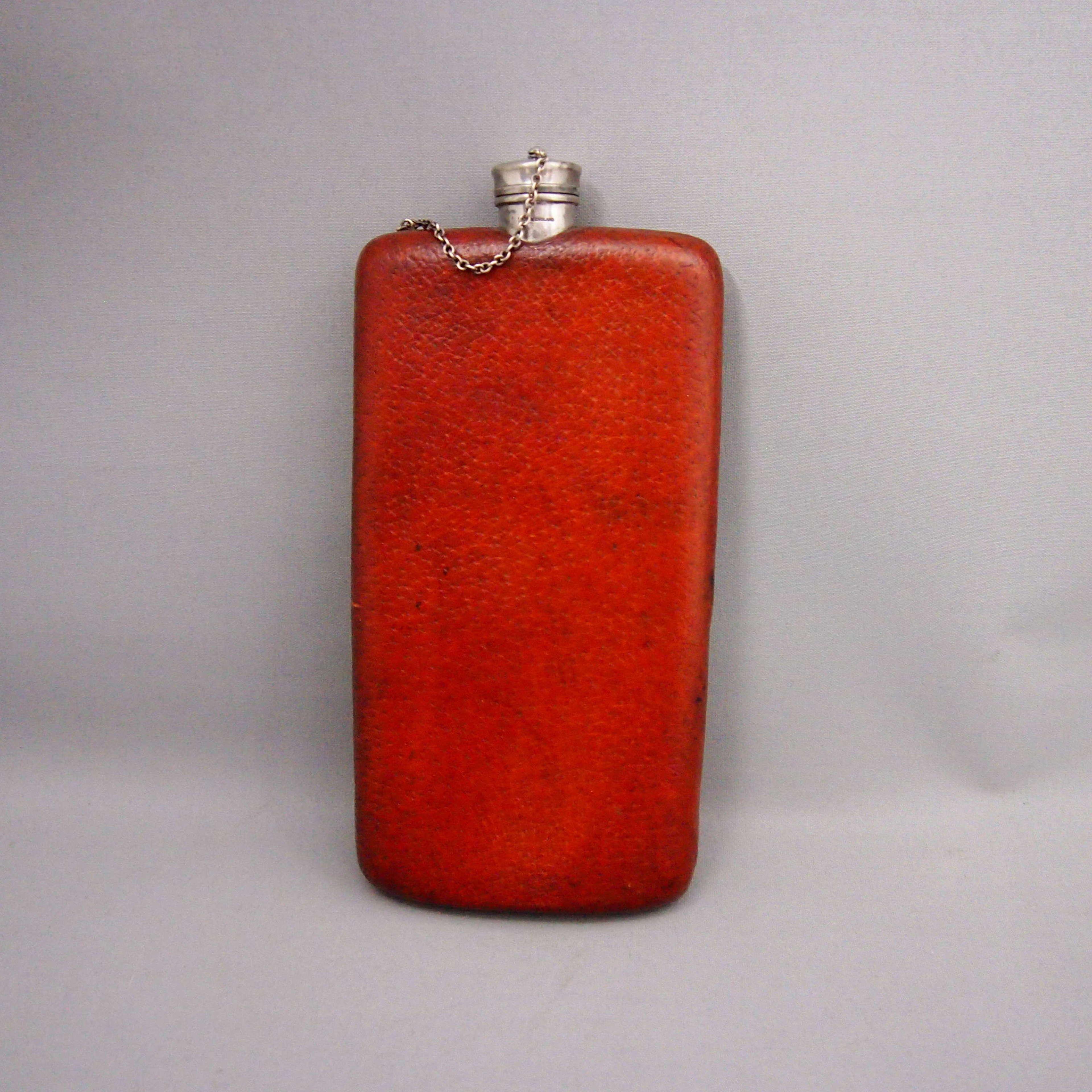 Antique Metal & Pigskin  Drinking Flask W8676