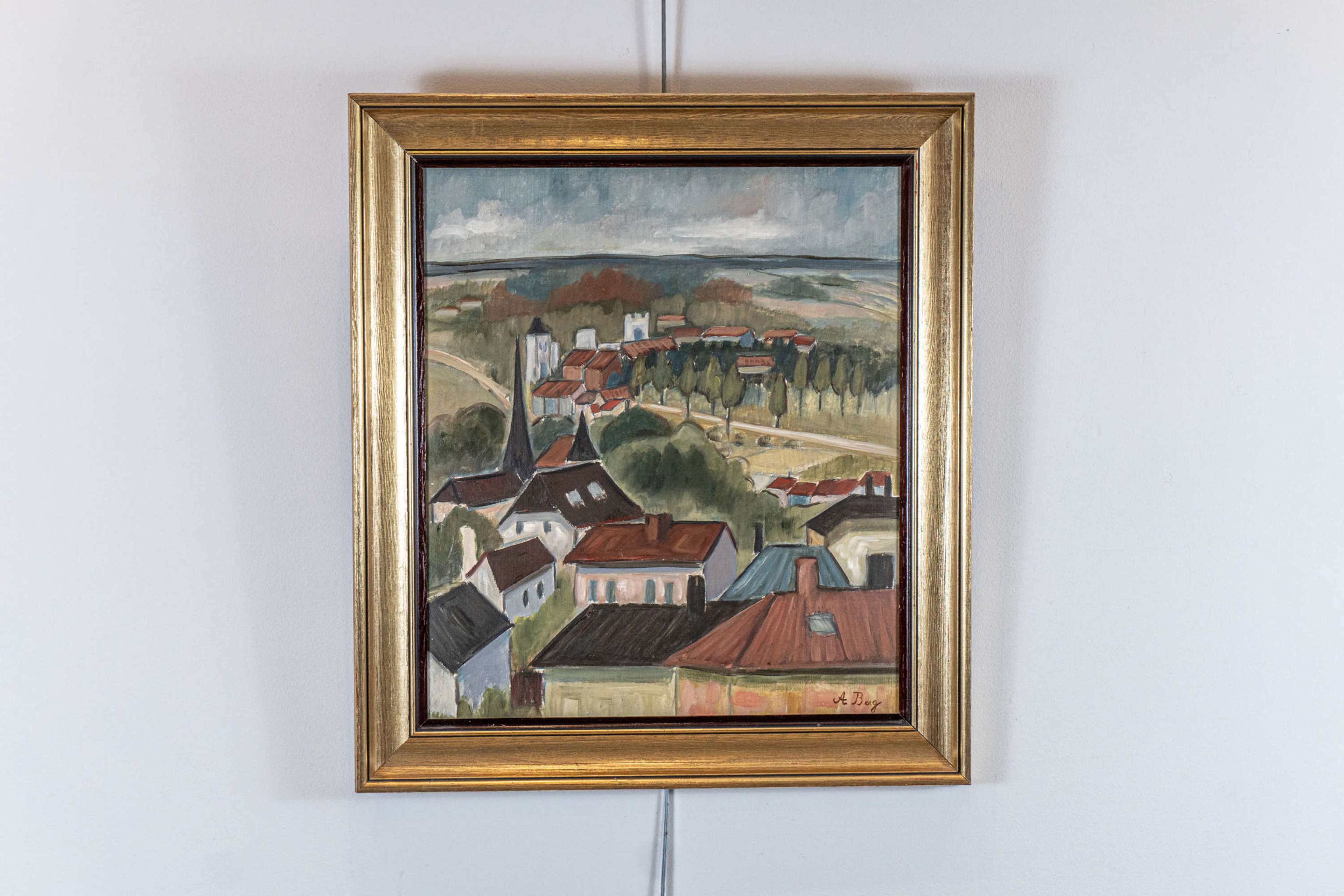 1940s oil painting on board  by Anna Berg
