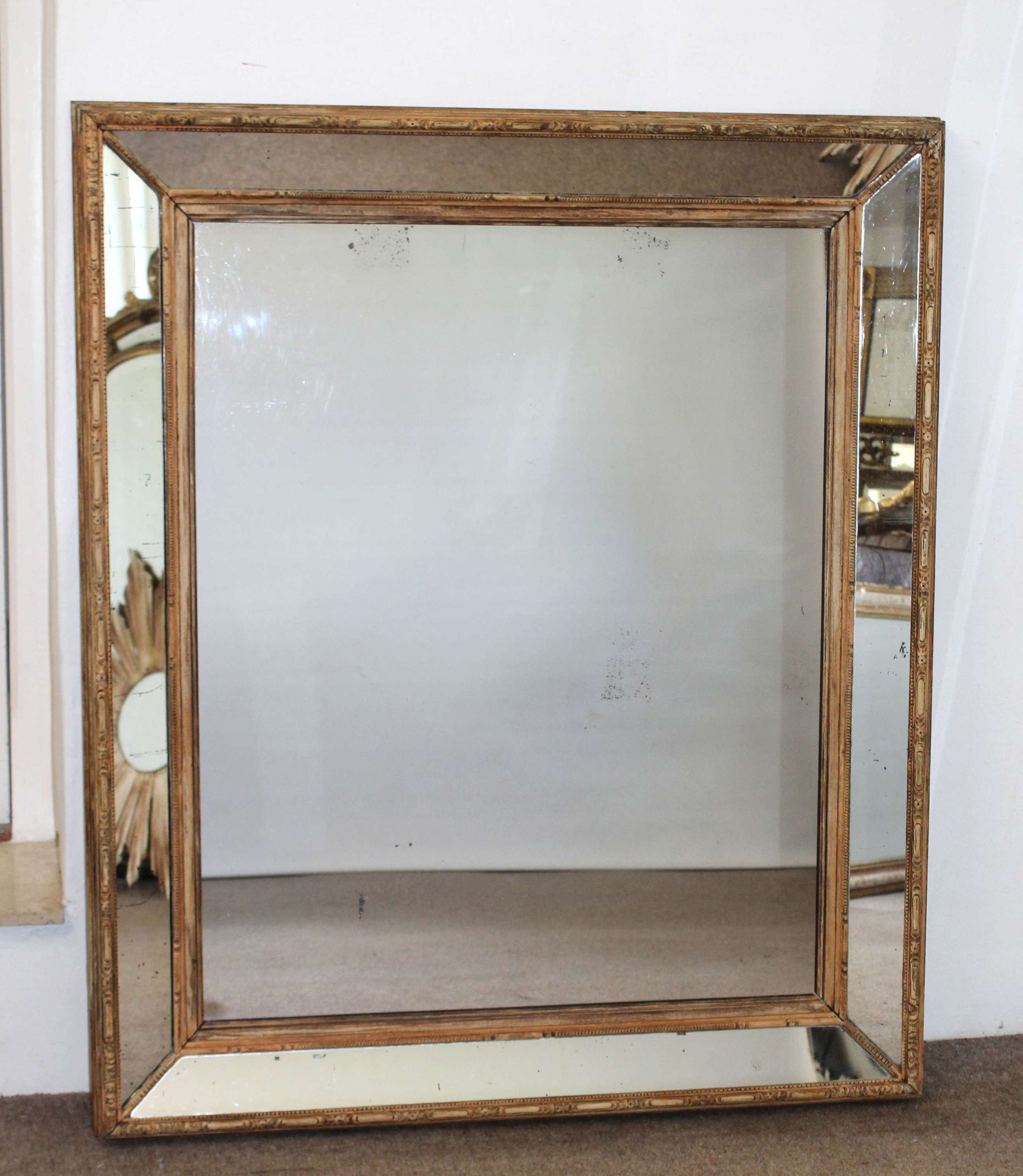 Large antique carved wood margin mirror