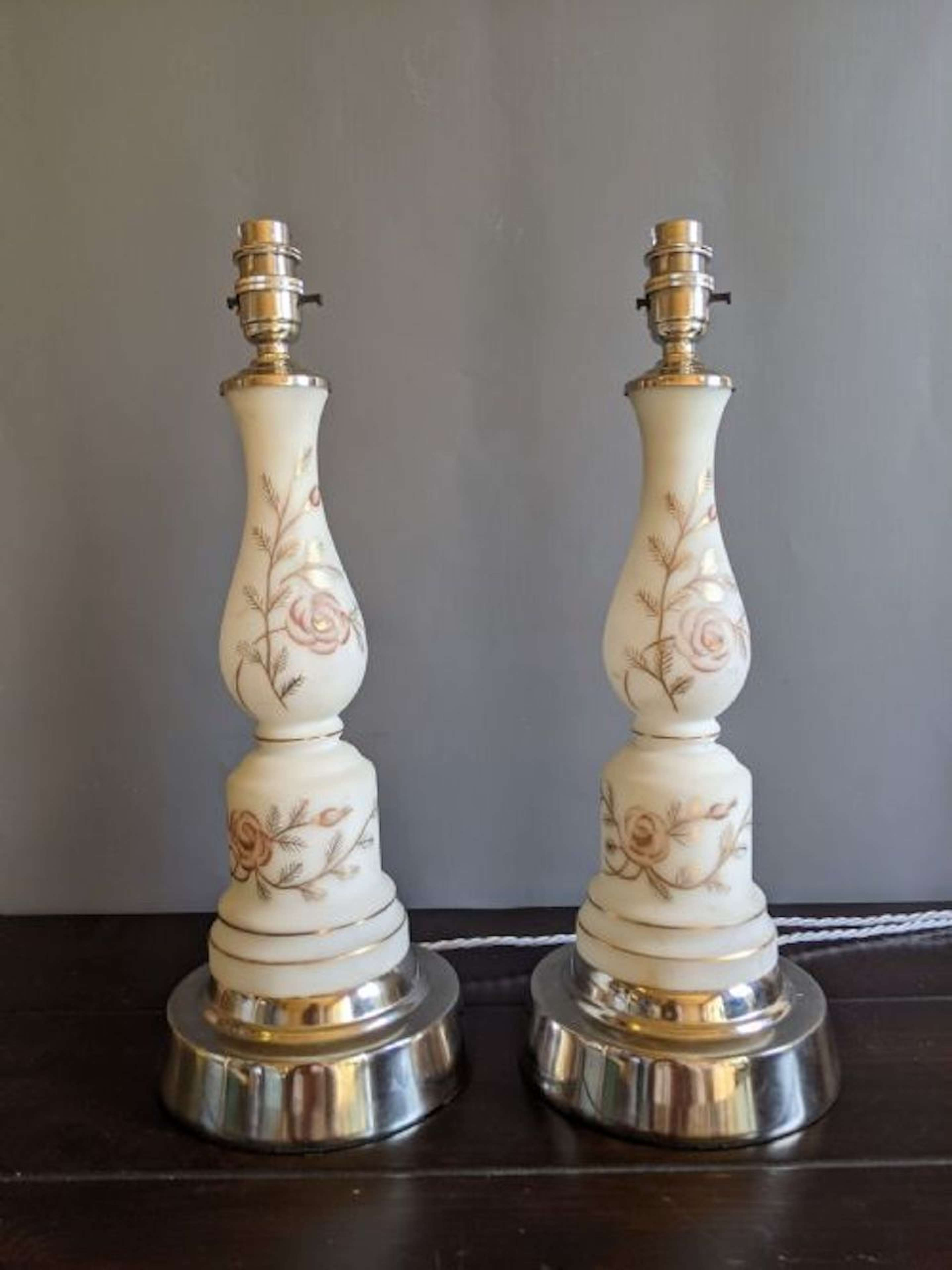 Glass 1920s Table Lamps with Nickel Plated Base