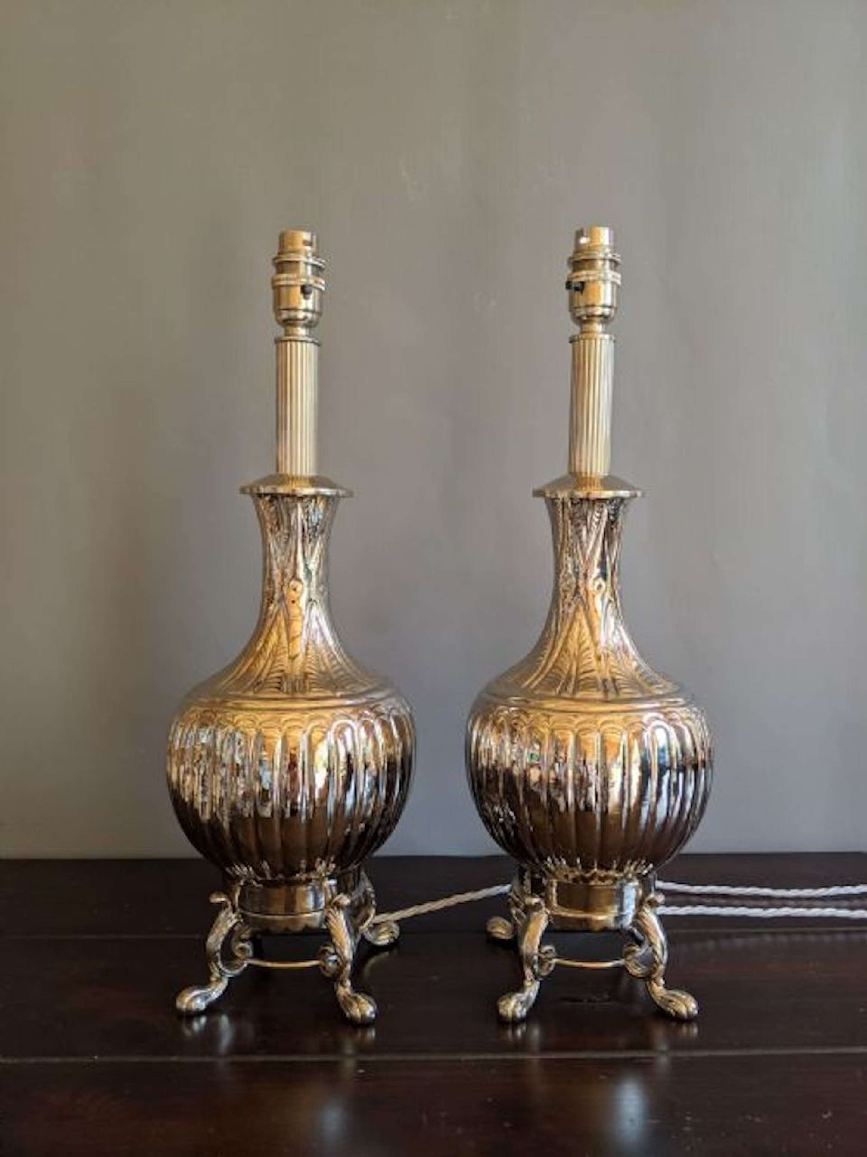 Exceptional pair of Nickel Plated Table Lamps