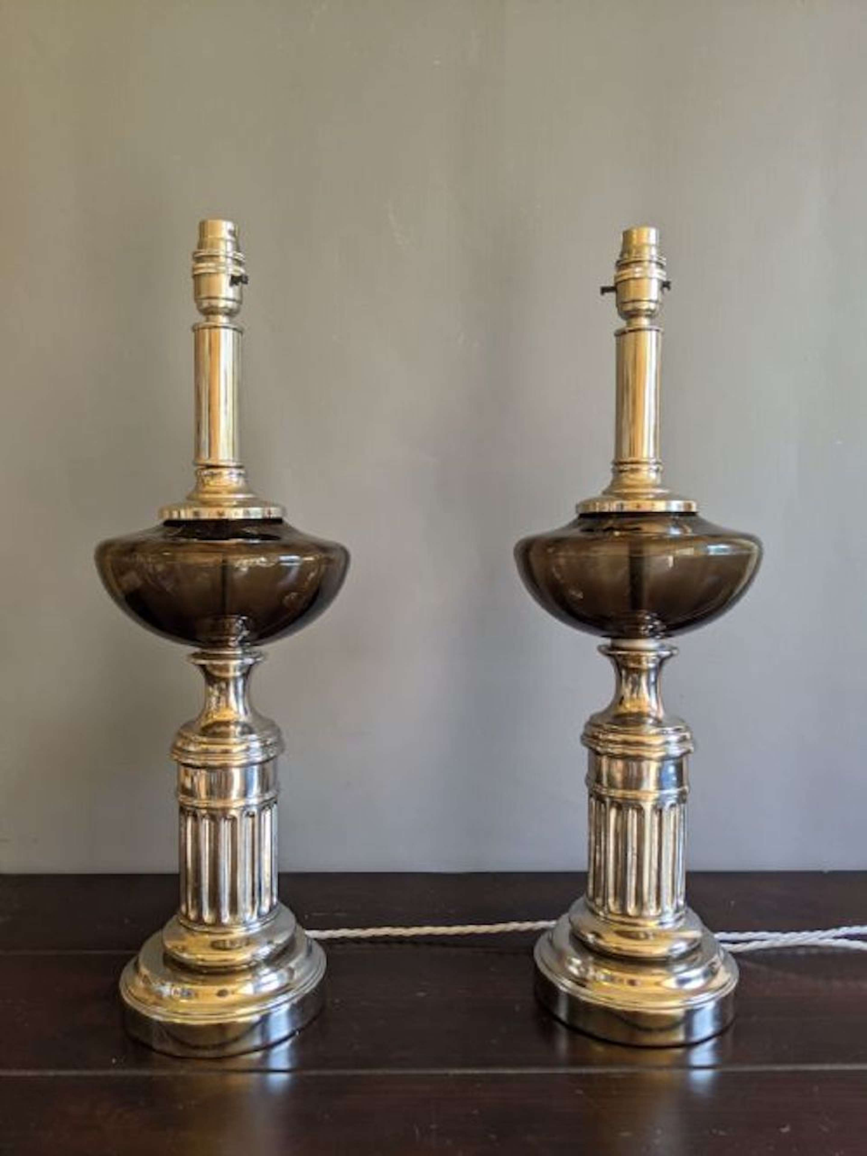 Interesting pair of glass & Nickel Plated Lamps