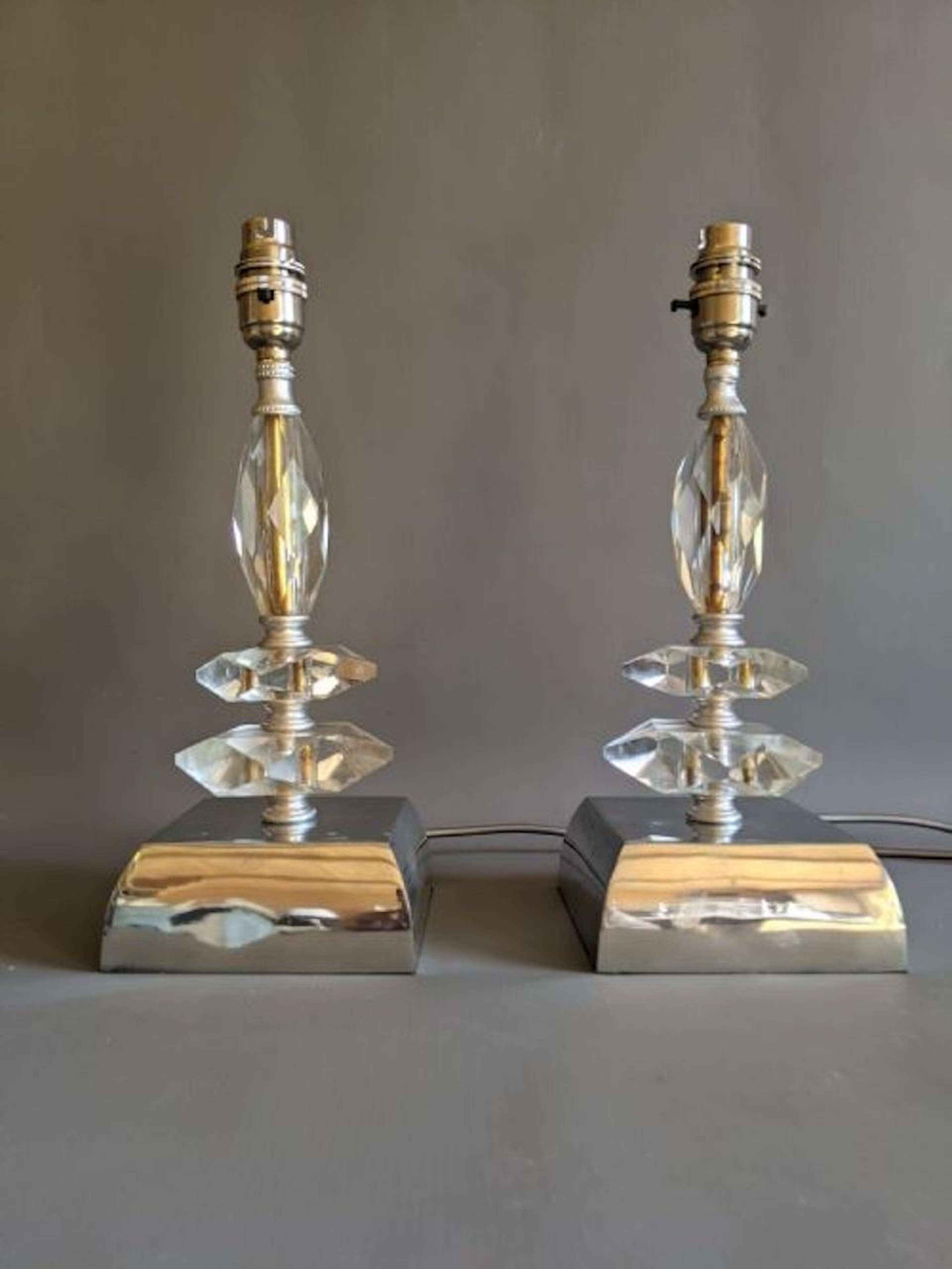 1920s Glass Lamps with Nickel Plated Base