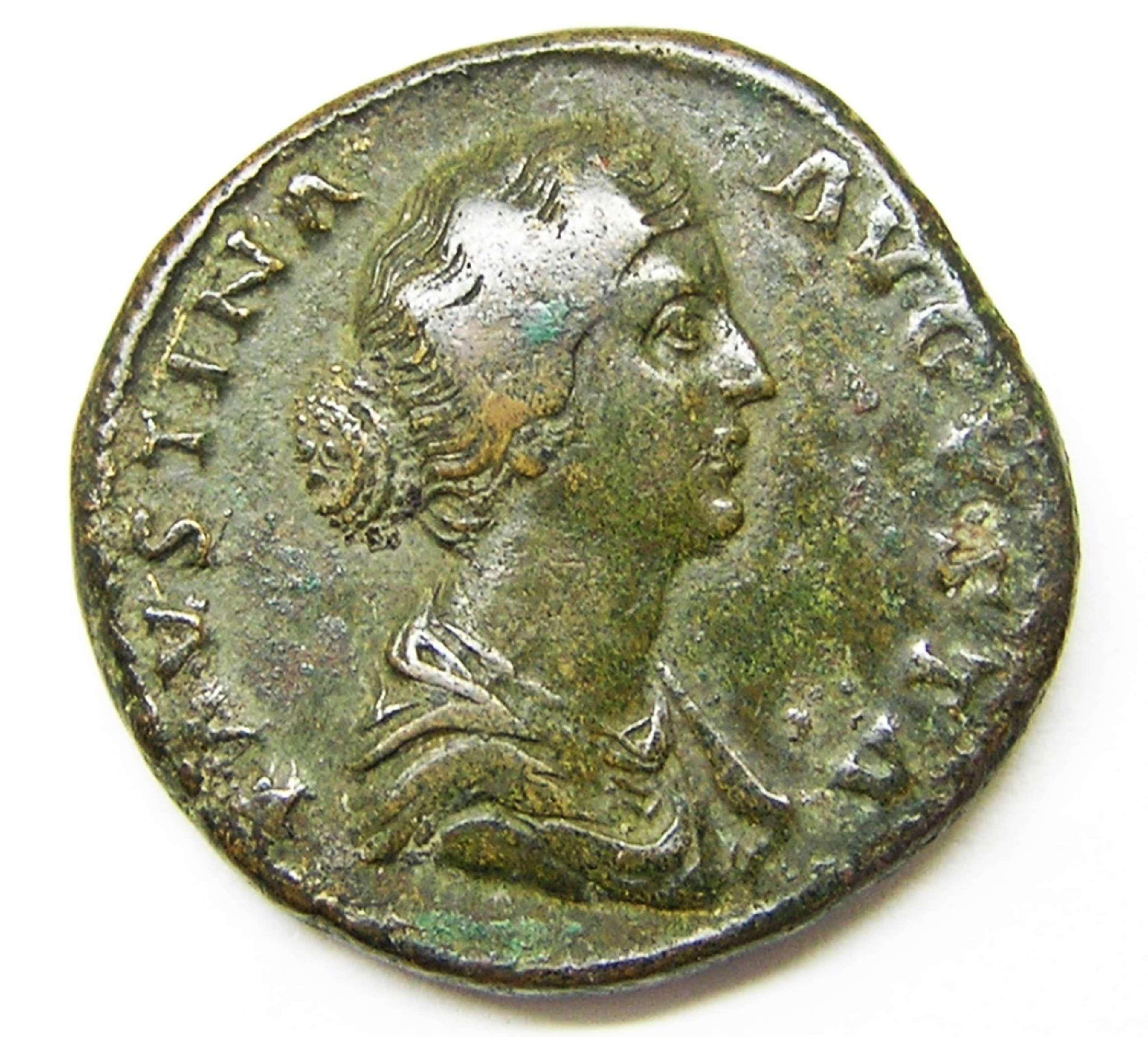 Ancient Roman Sestertius empress Faustina II / Diana bringer of light