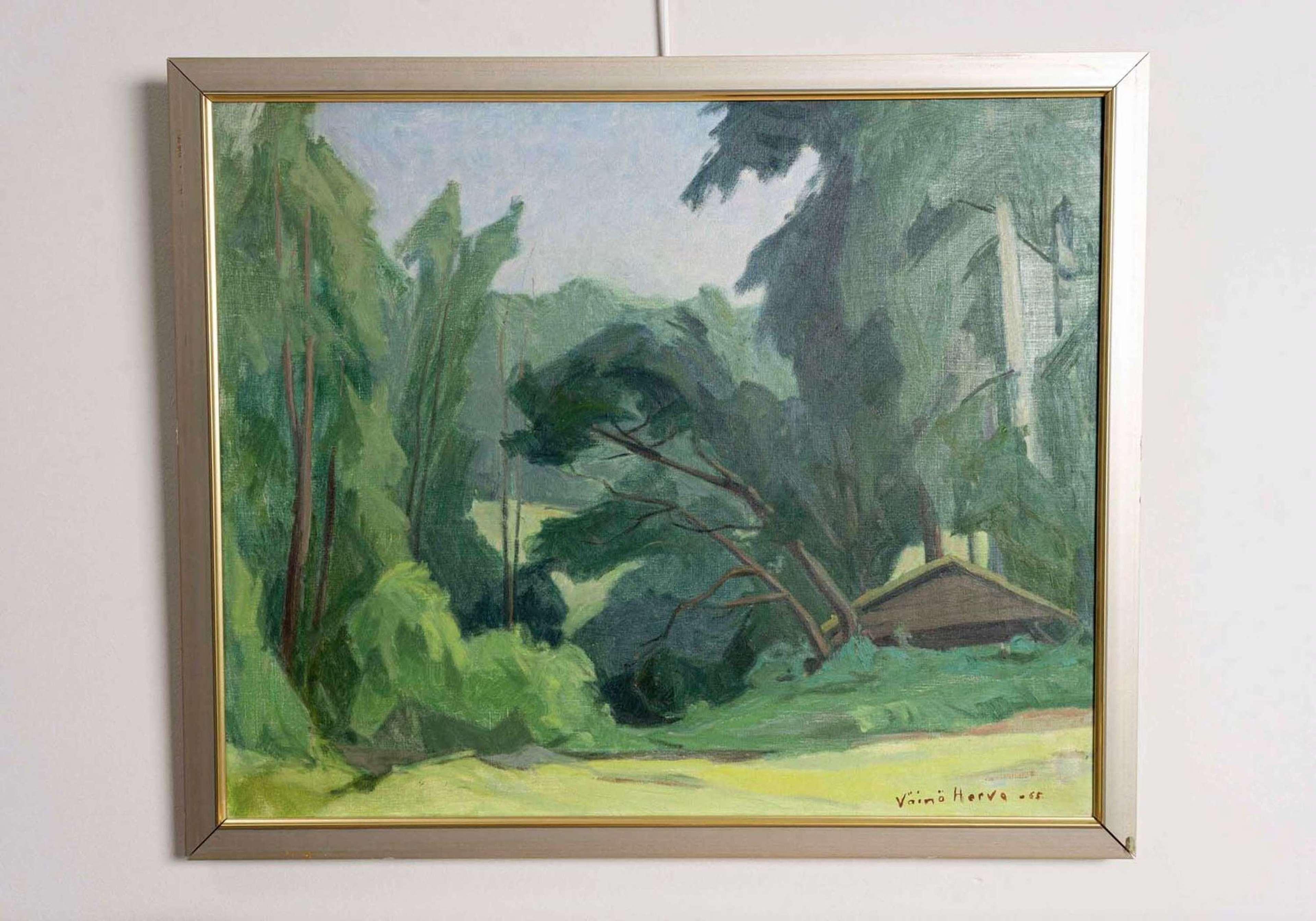Finnish landscape oil painting 1960s