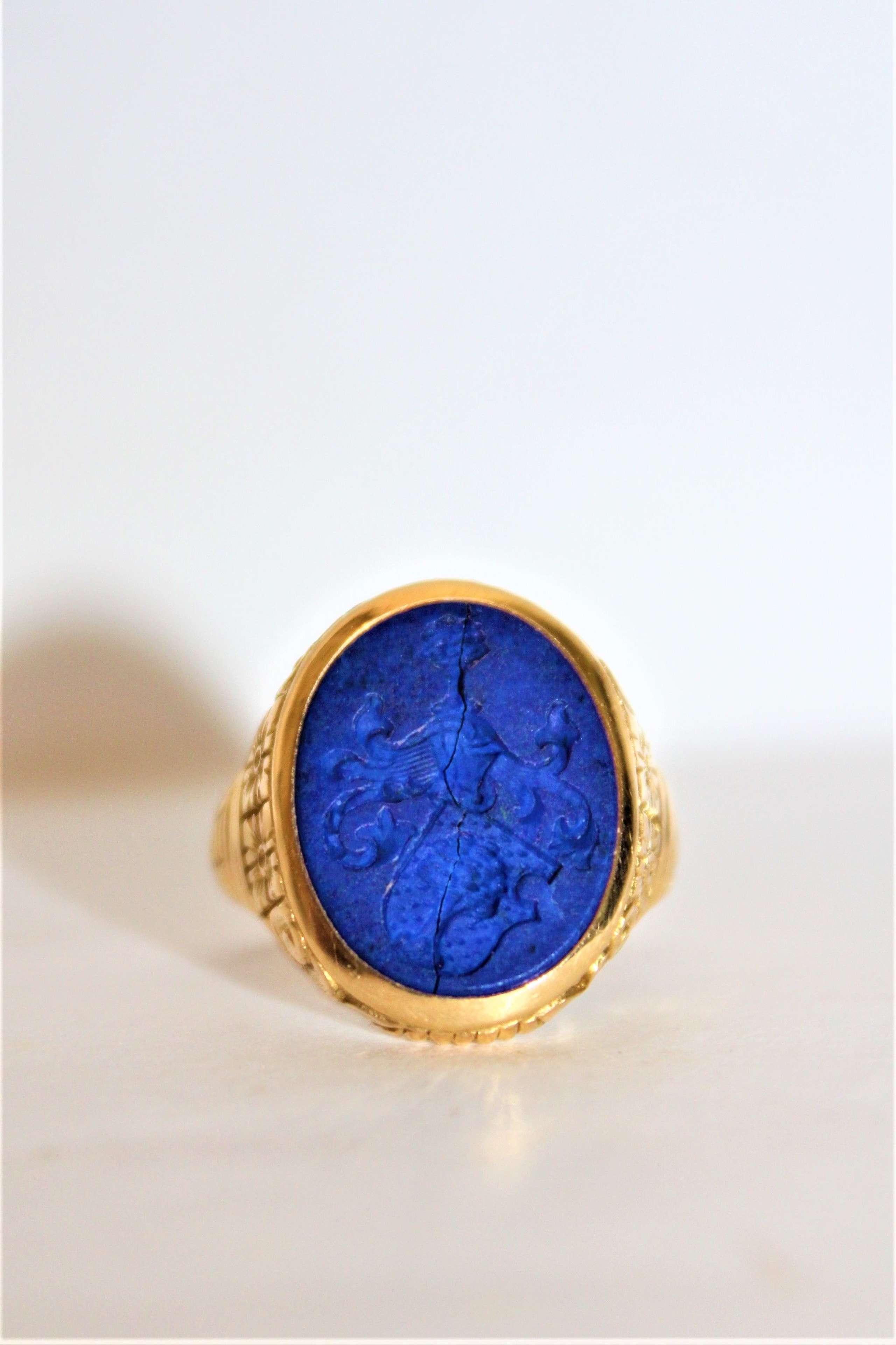 Unmarked gold intaglio lapis lazuli ring Circa 1880