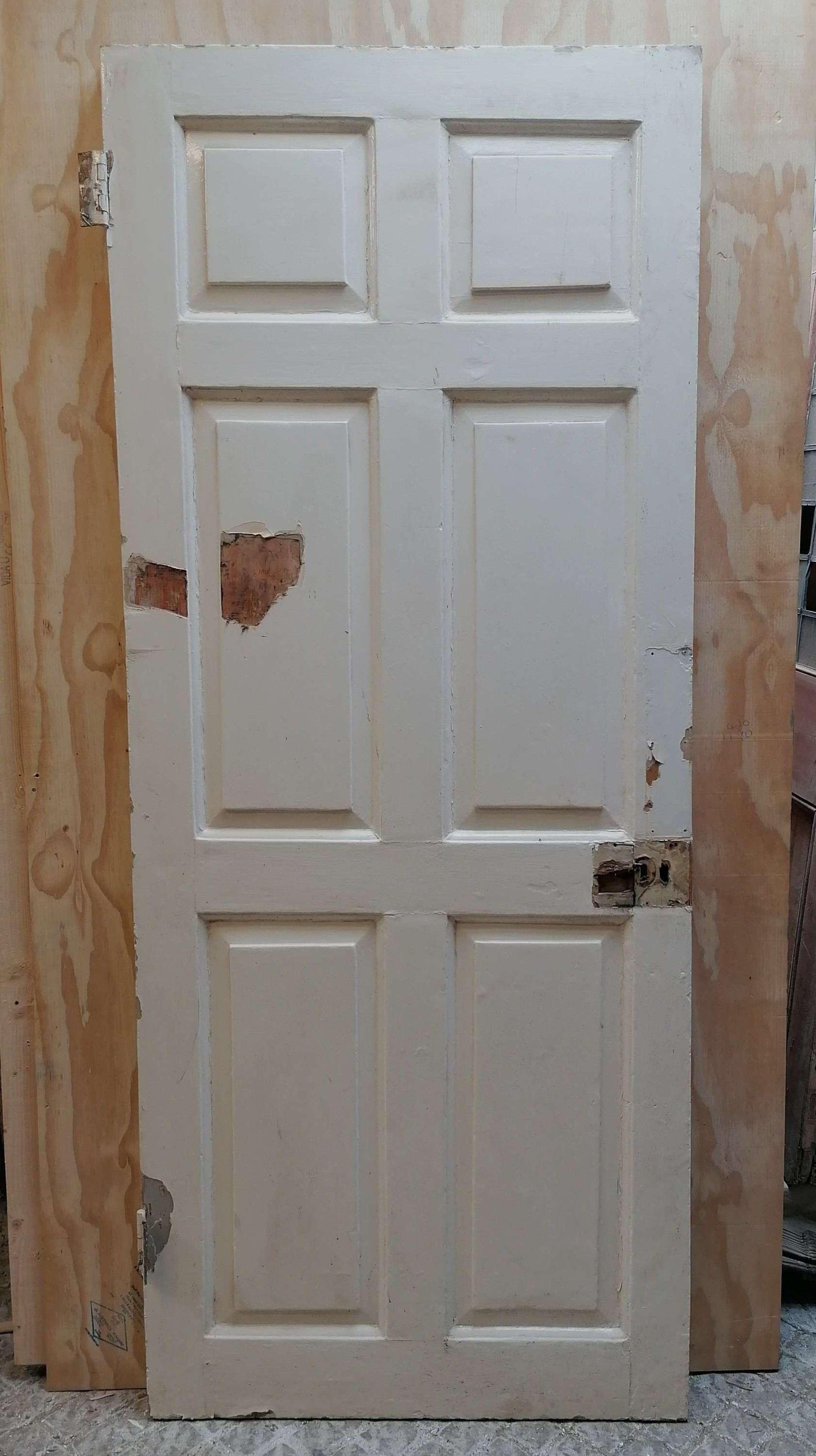 DI0746 AN ORIGINAL GEORGIAN PAINTED PINE 6 PANEL INTERNAL DOOR