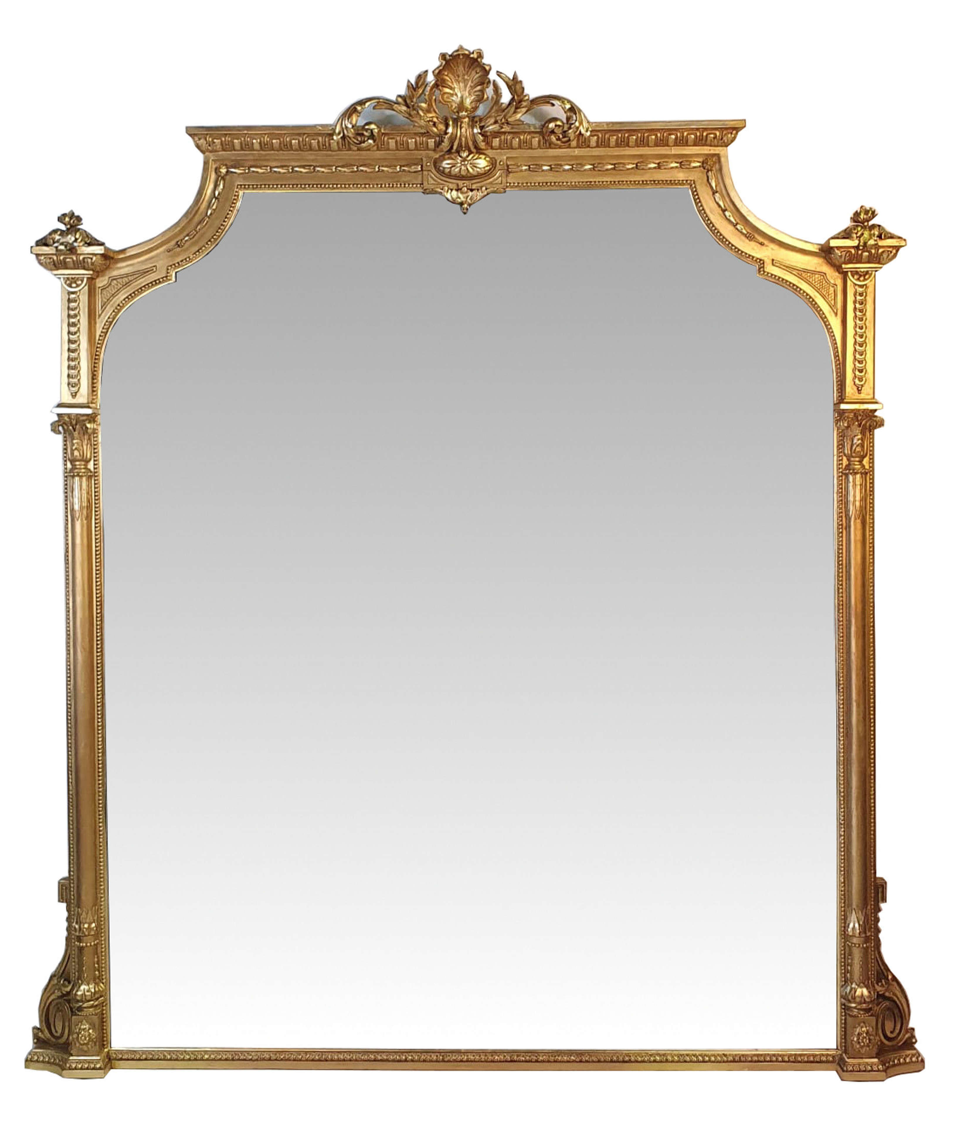 Very Large 19th Century Gilt Overmantle Mirror