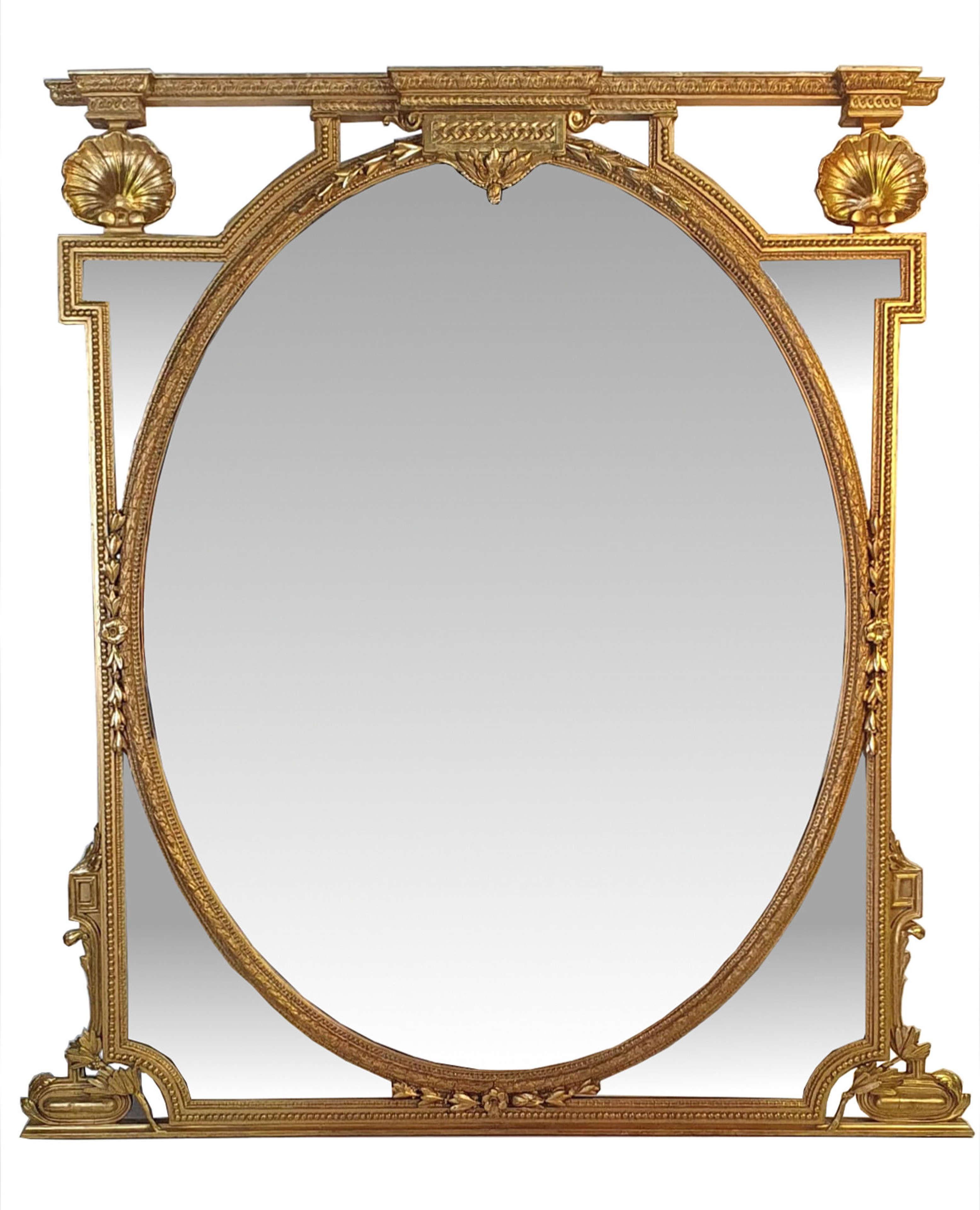 Very Large 19th Century Gilt Oval Mirror