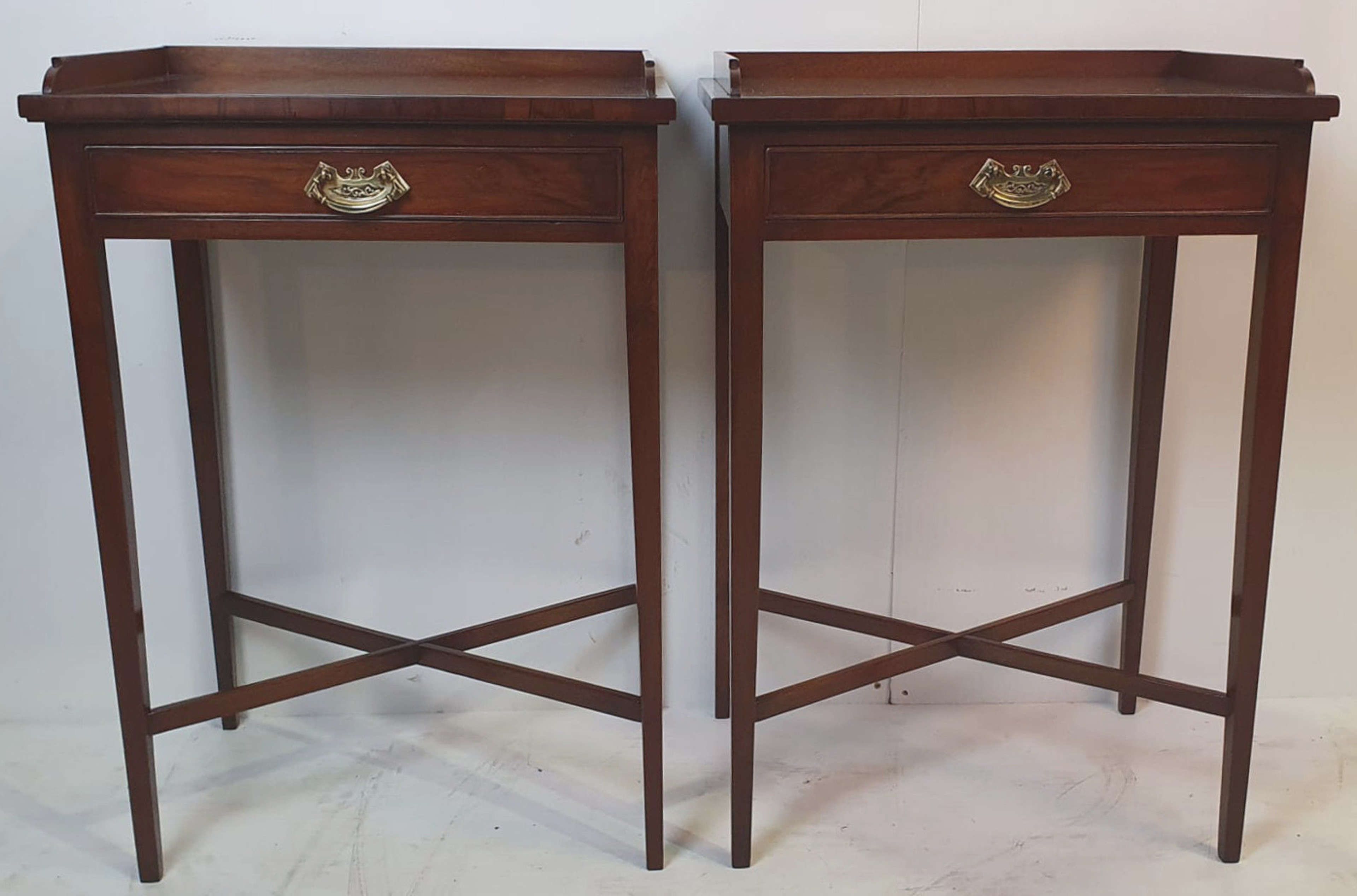 Hand Made Pair of 20th Century Walnut Side Tables