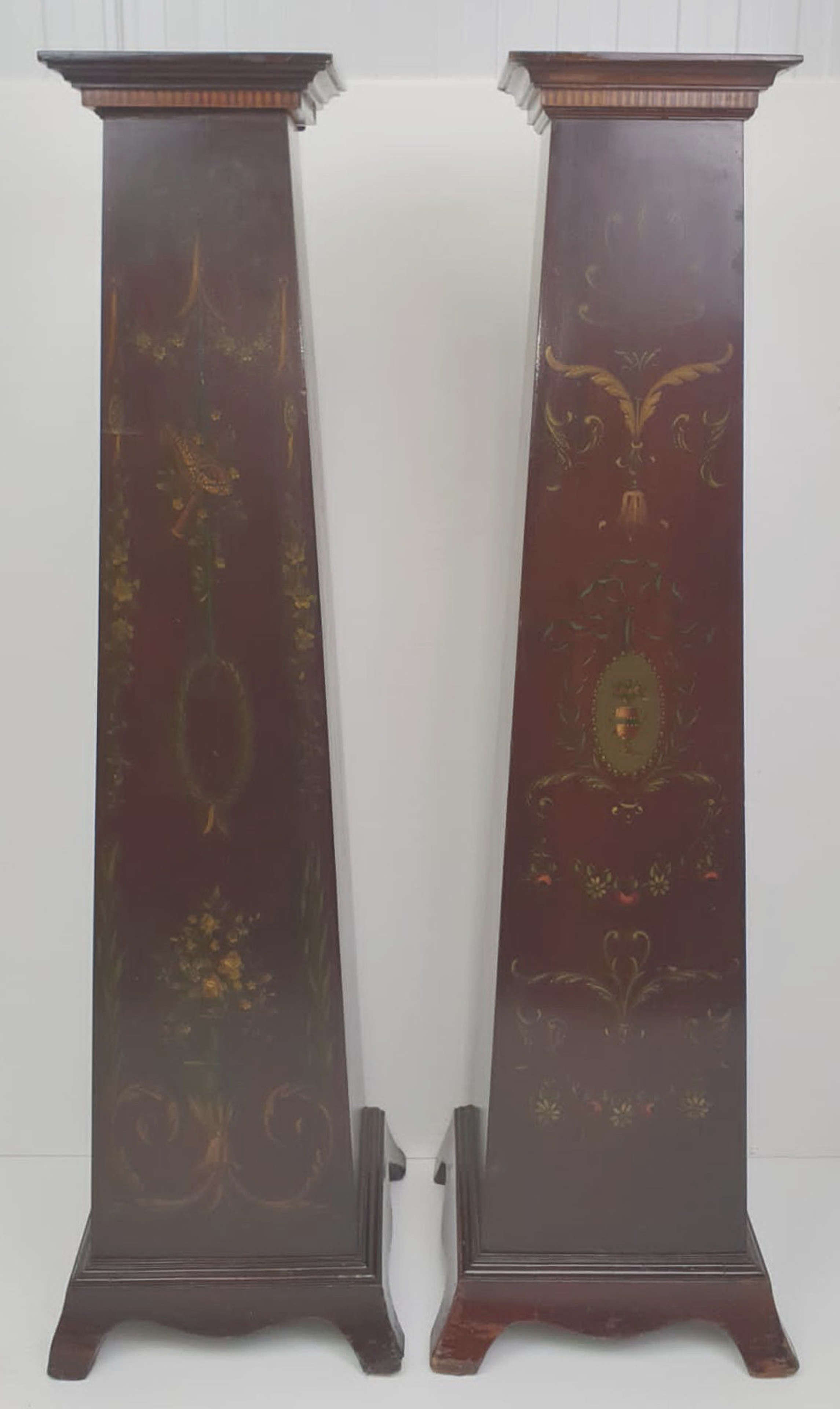 Edwardian Inlaid Painted Mahogany Pair of Jardiniere or Bust Stands