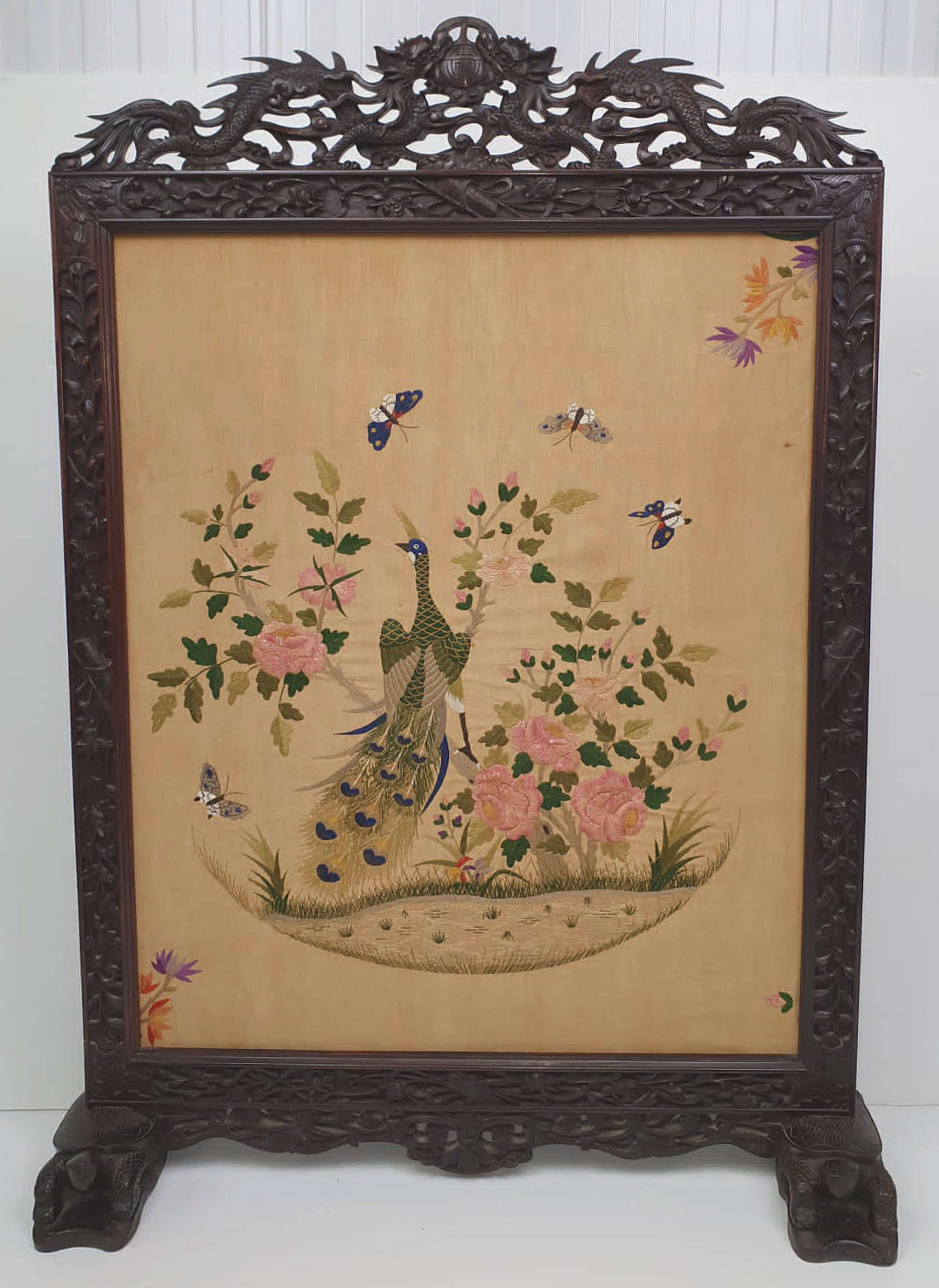 19th Century Chinese Mahogany Fire Screen with Silk Embroidered Panel
