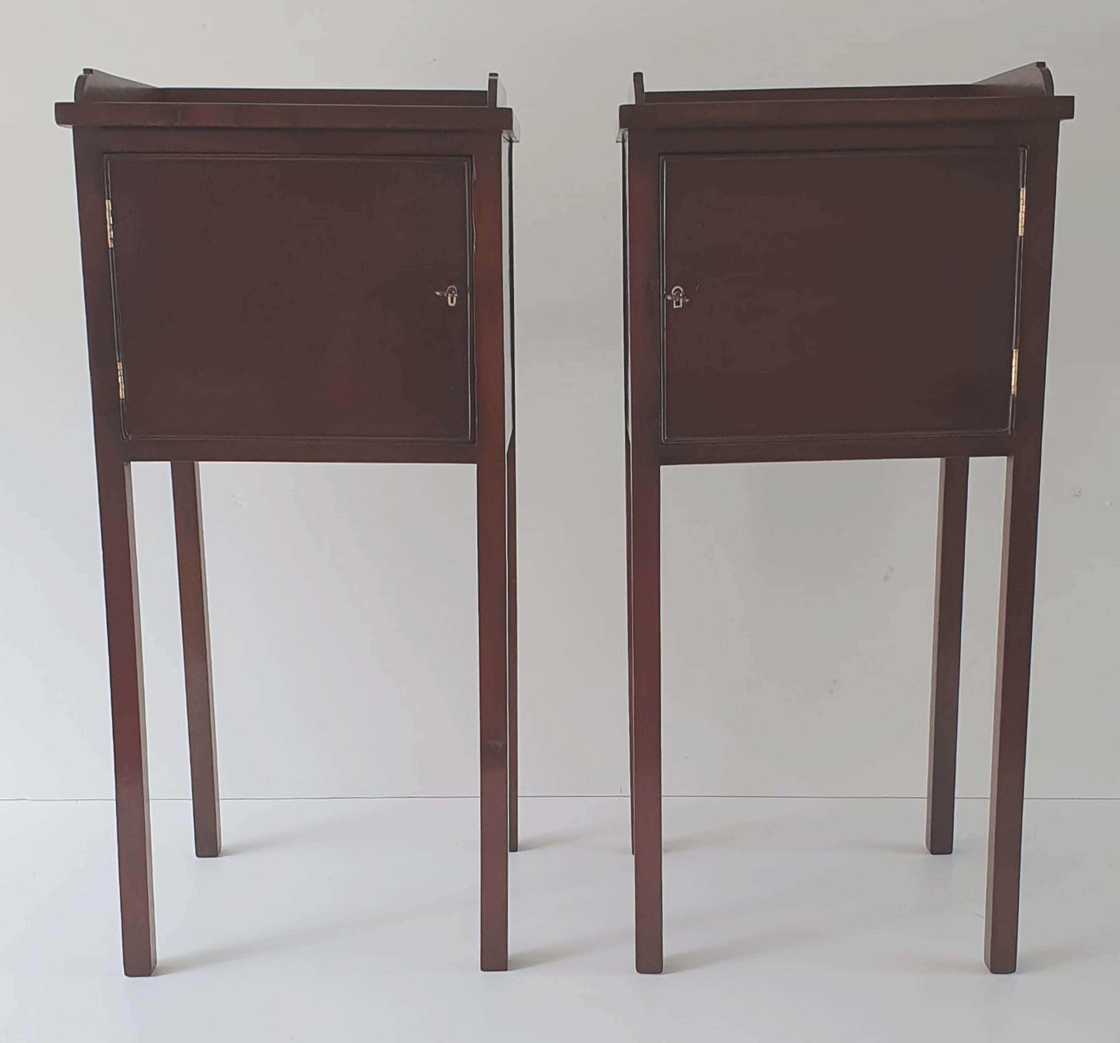 Pair of Hand Made 20th Century Mahogany Pot Cupboards