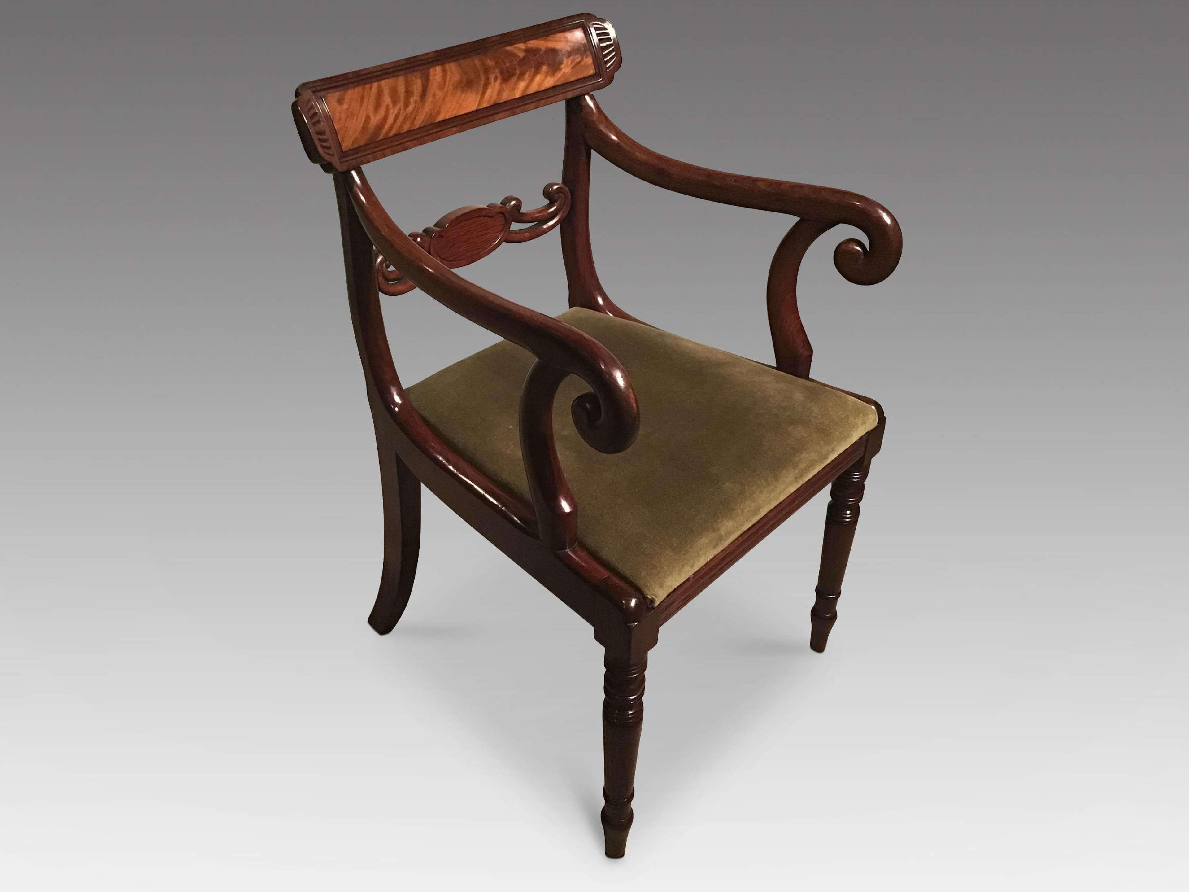 Regency mahogany elbow chair