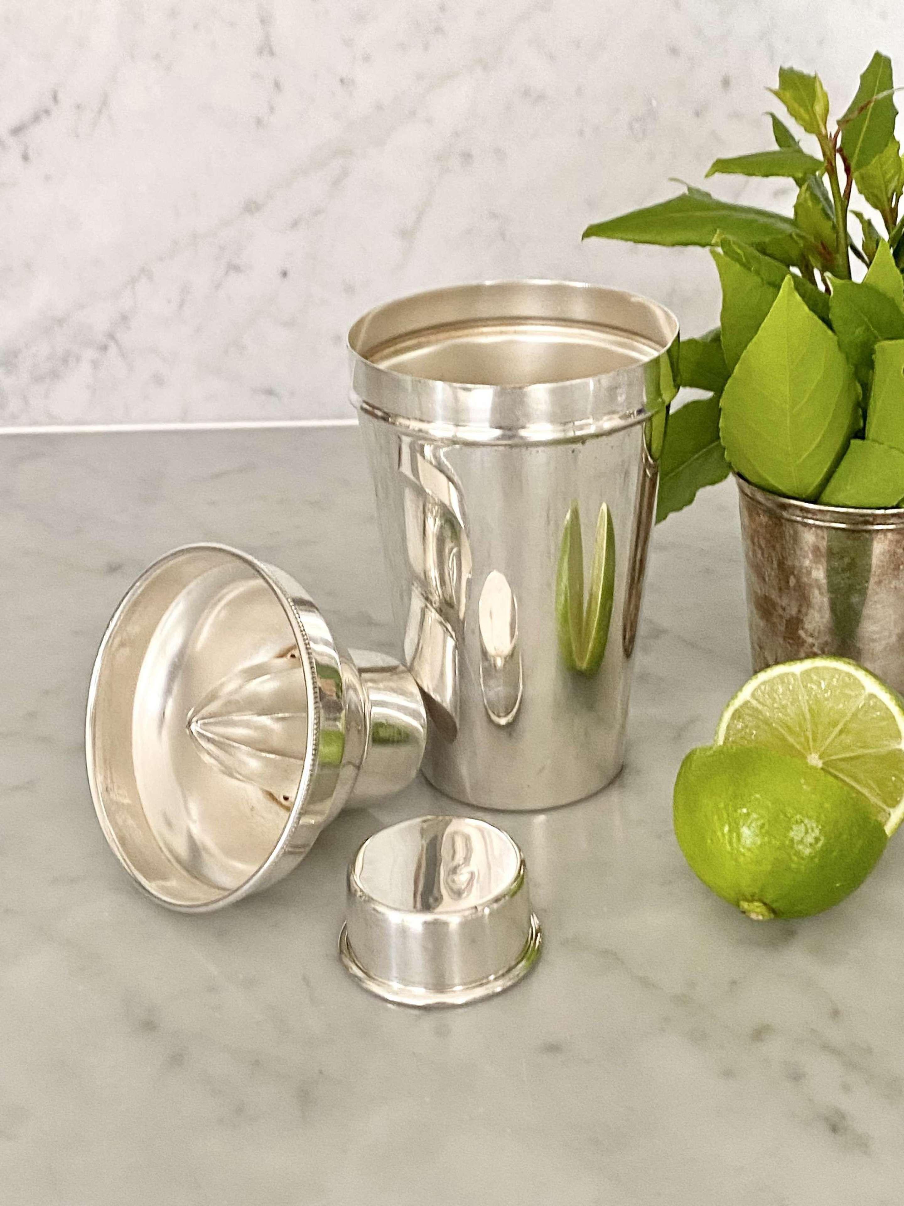 Lemon squeezer Art Deco silver plated cocktail shaker
