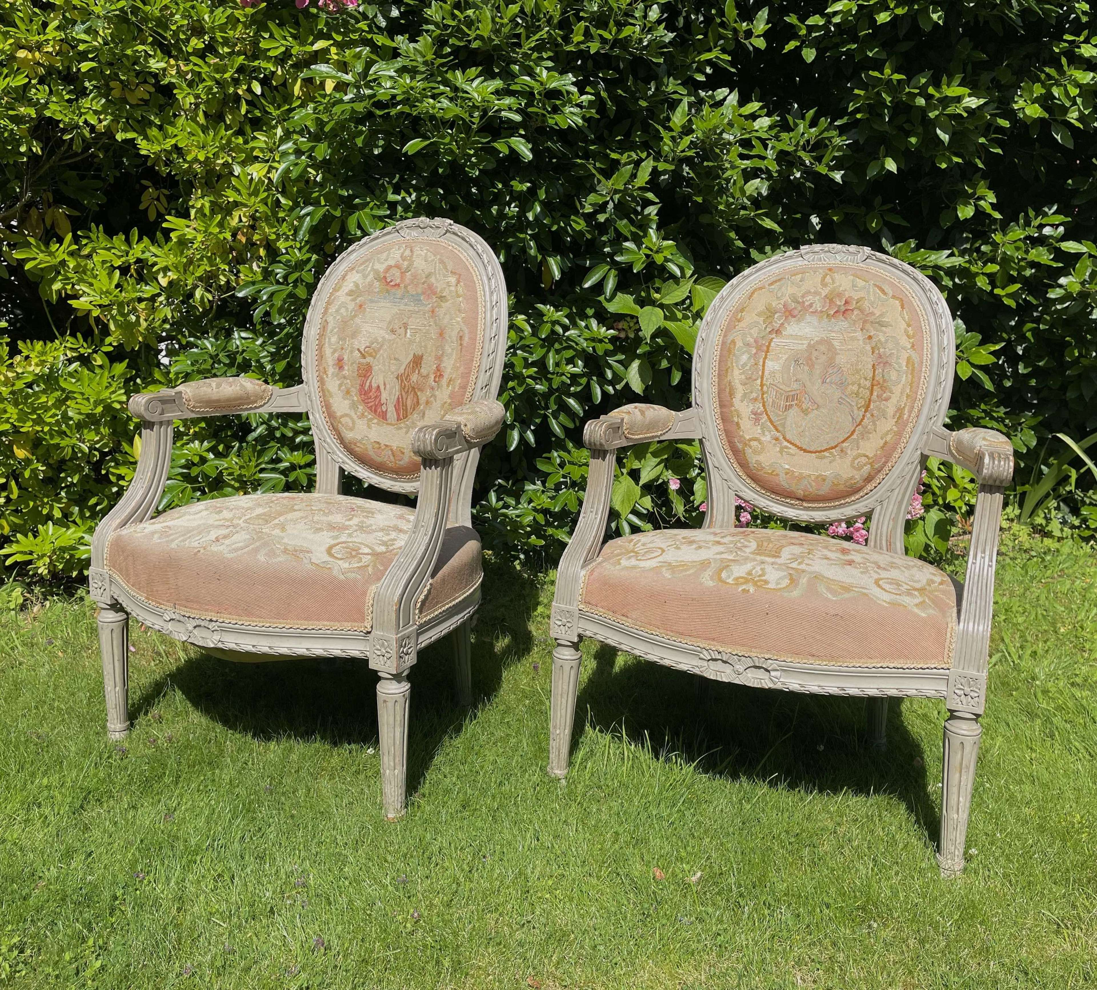 A Pretty Pair of Louis Style Chairs