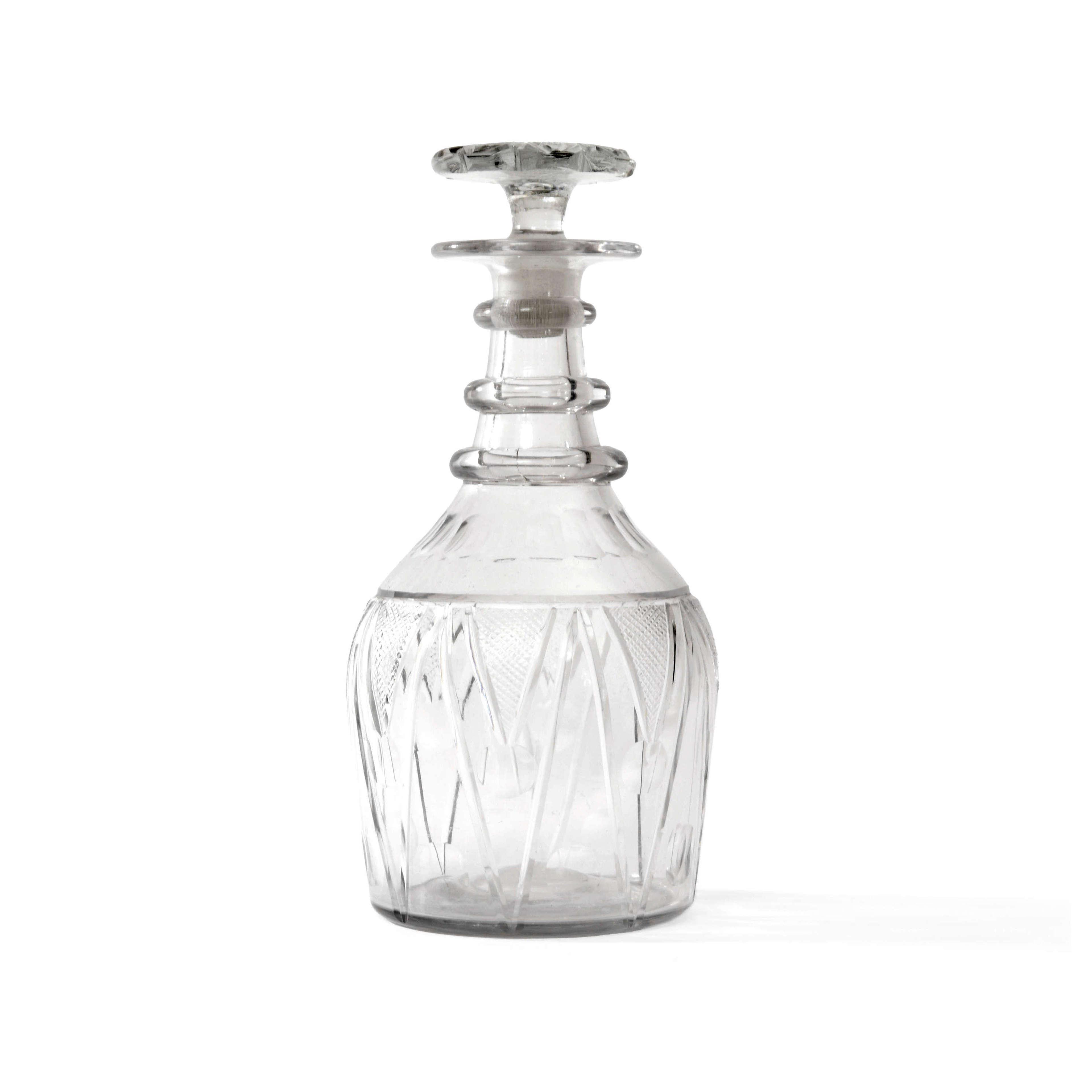 Regency Prussian three ring glass decanter